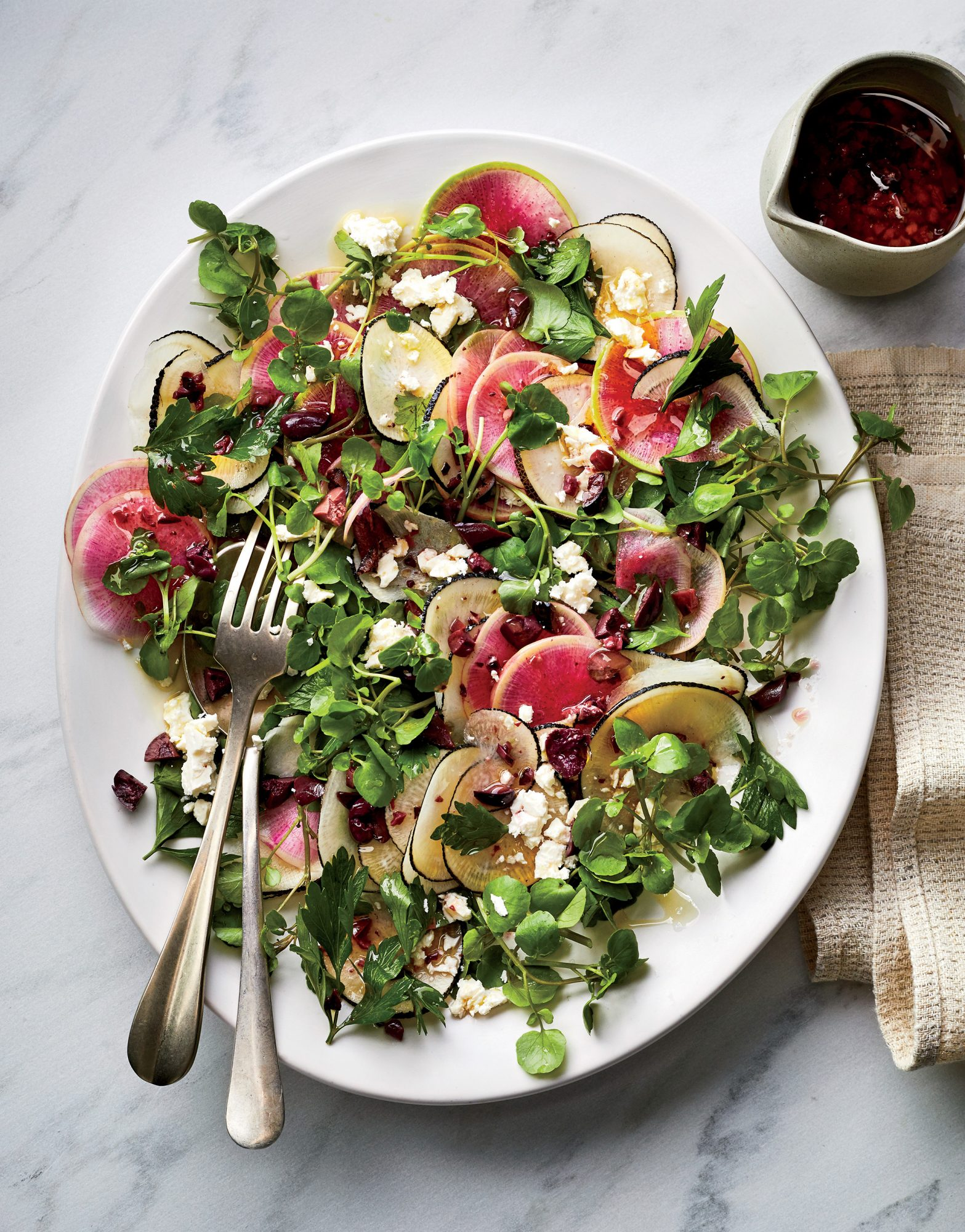Winter Radish Salad With Parsley And Olives