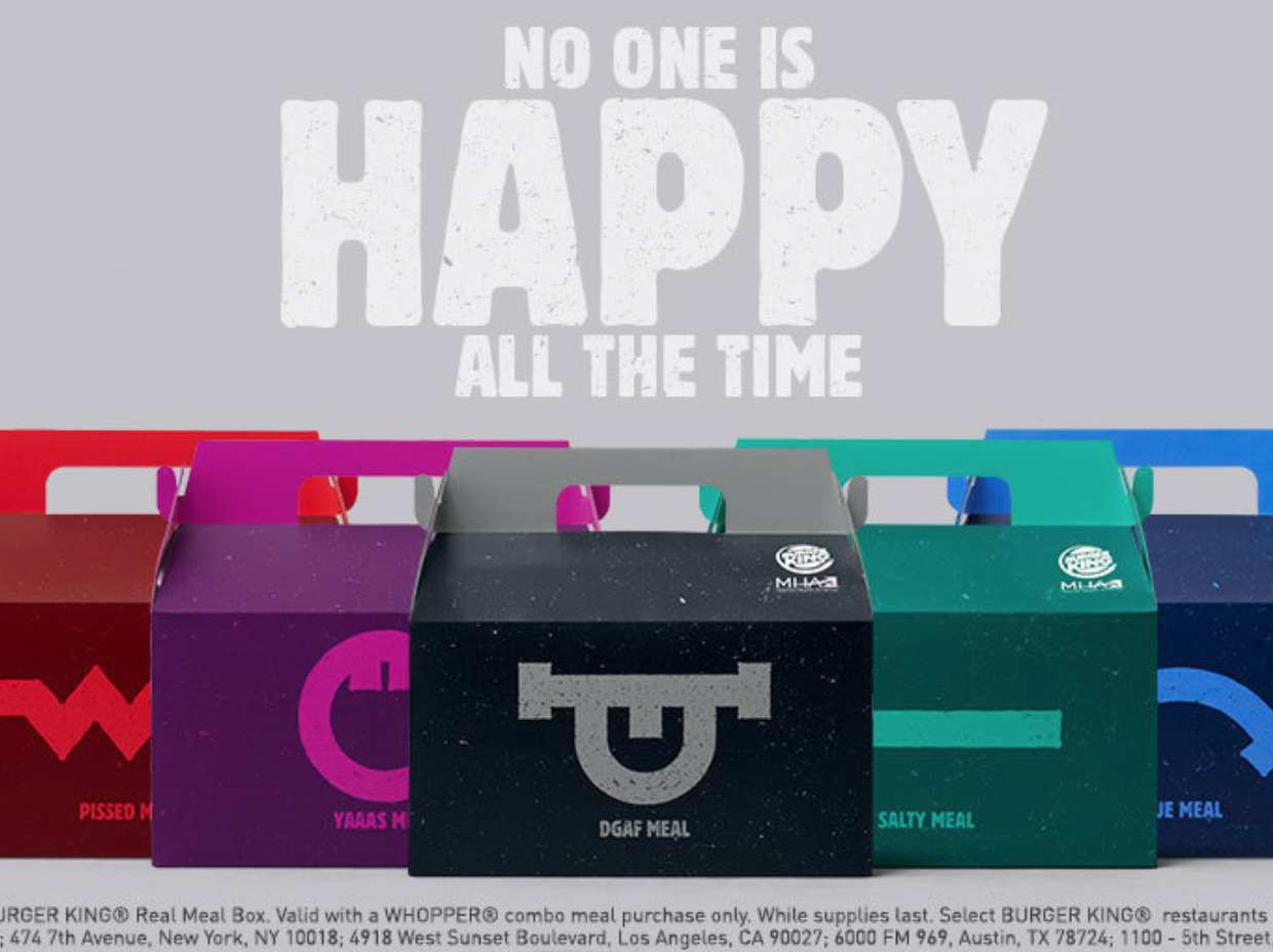 Burger King Debuts'Real Meals' Because 'Nobody Is Happy All the Time'