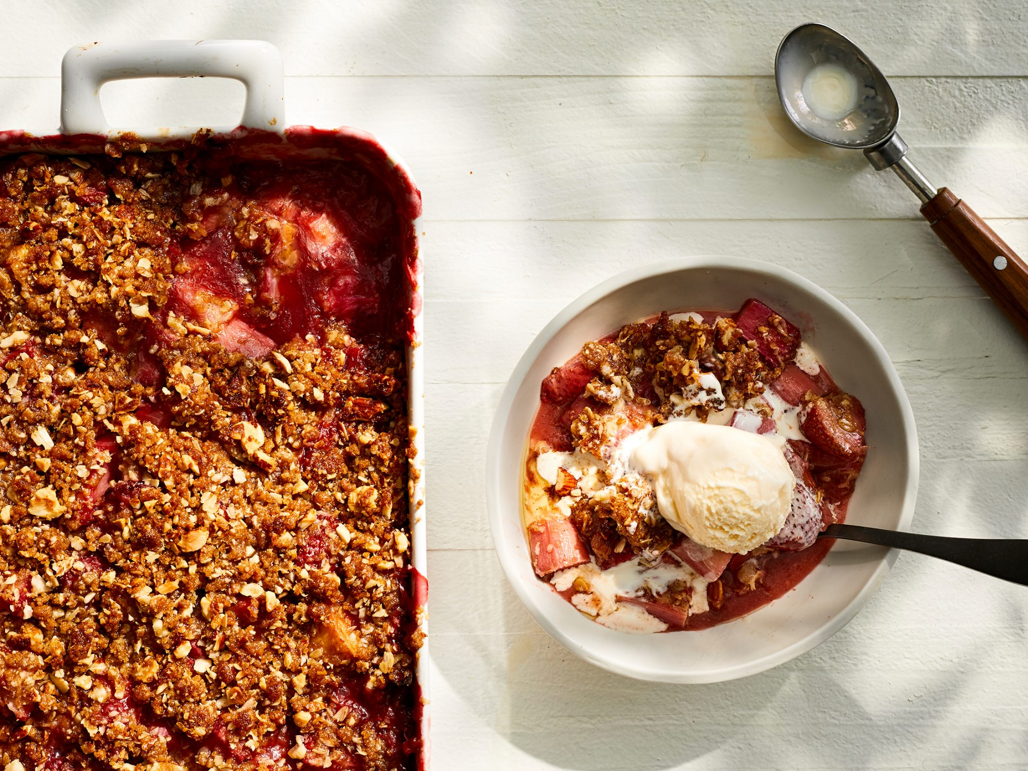 Strawberry Rhubarb Crisp Is the Perfect Casual Dessert for a Crowd