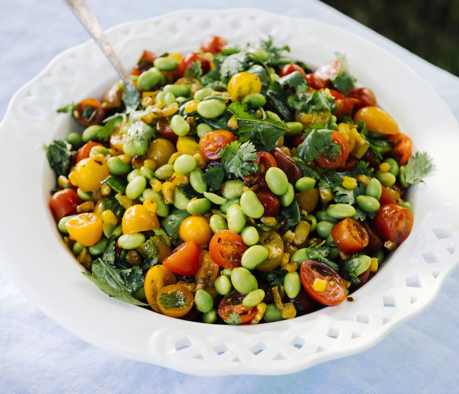 Corn Salad With Soybeans, Cherry Tomatoes, and Basil image