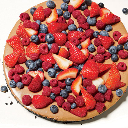 No-Bake Chocolate Cheesecake RecipeRaspberries, strawberries, and blueberries colorfully adorn the top of No-Bake Chocolate Cheesecake with Mixed Berries.