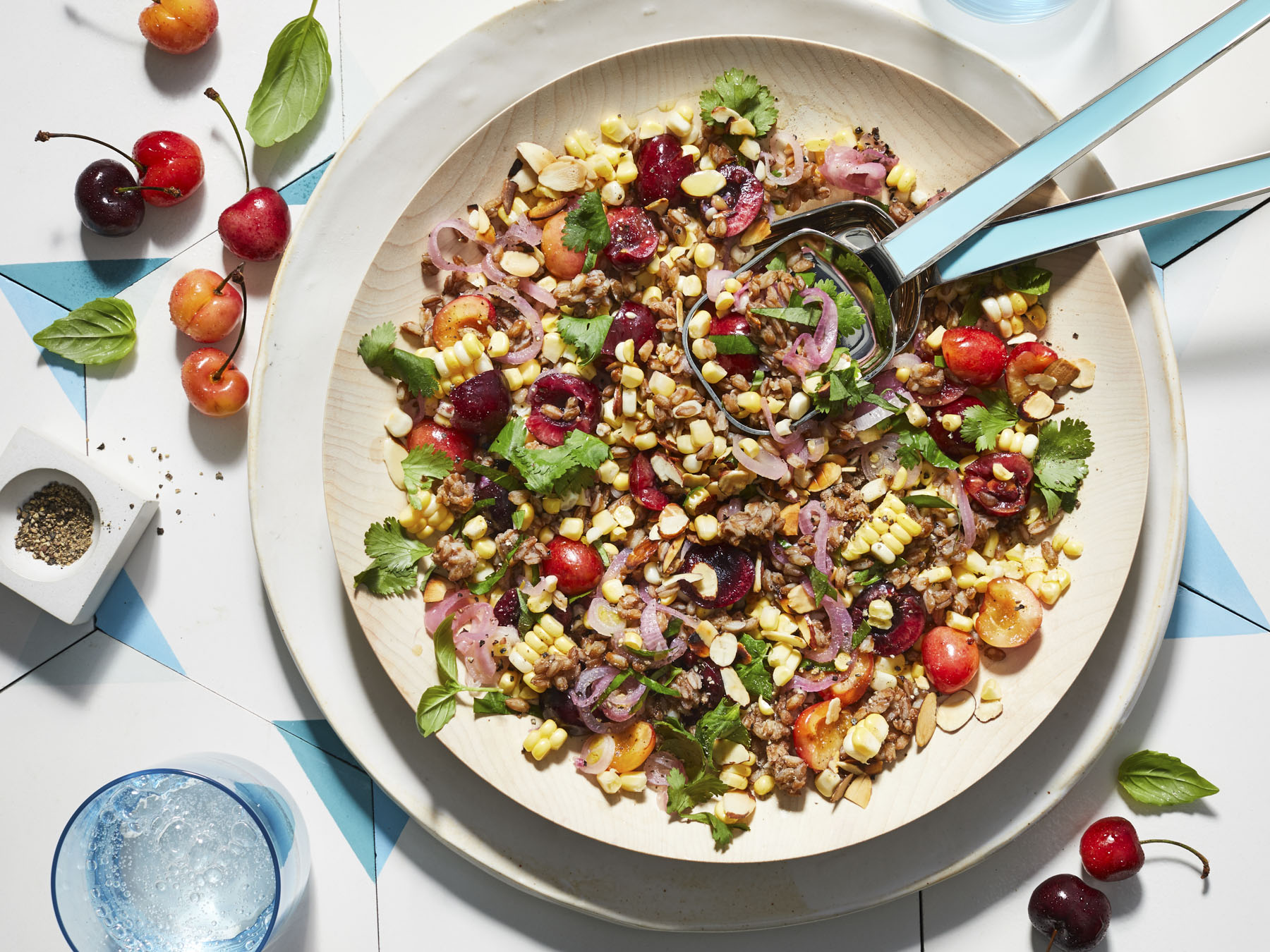 Farro Salad With Cherries, Corn, and Basil