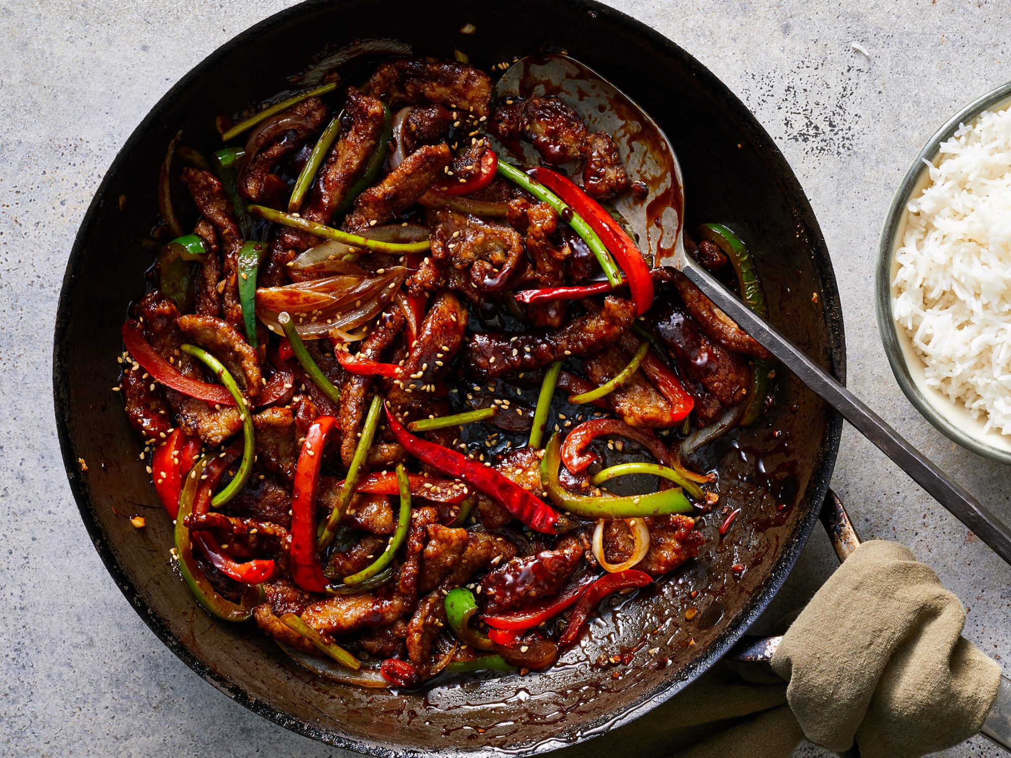 Szechuan Beef with Garlic Scapes