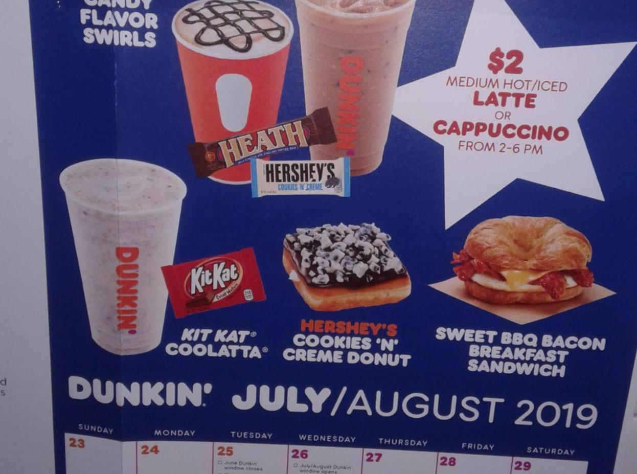 Reddit Dunkin' menu