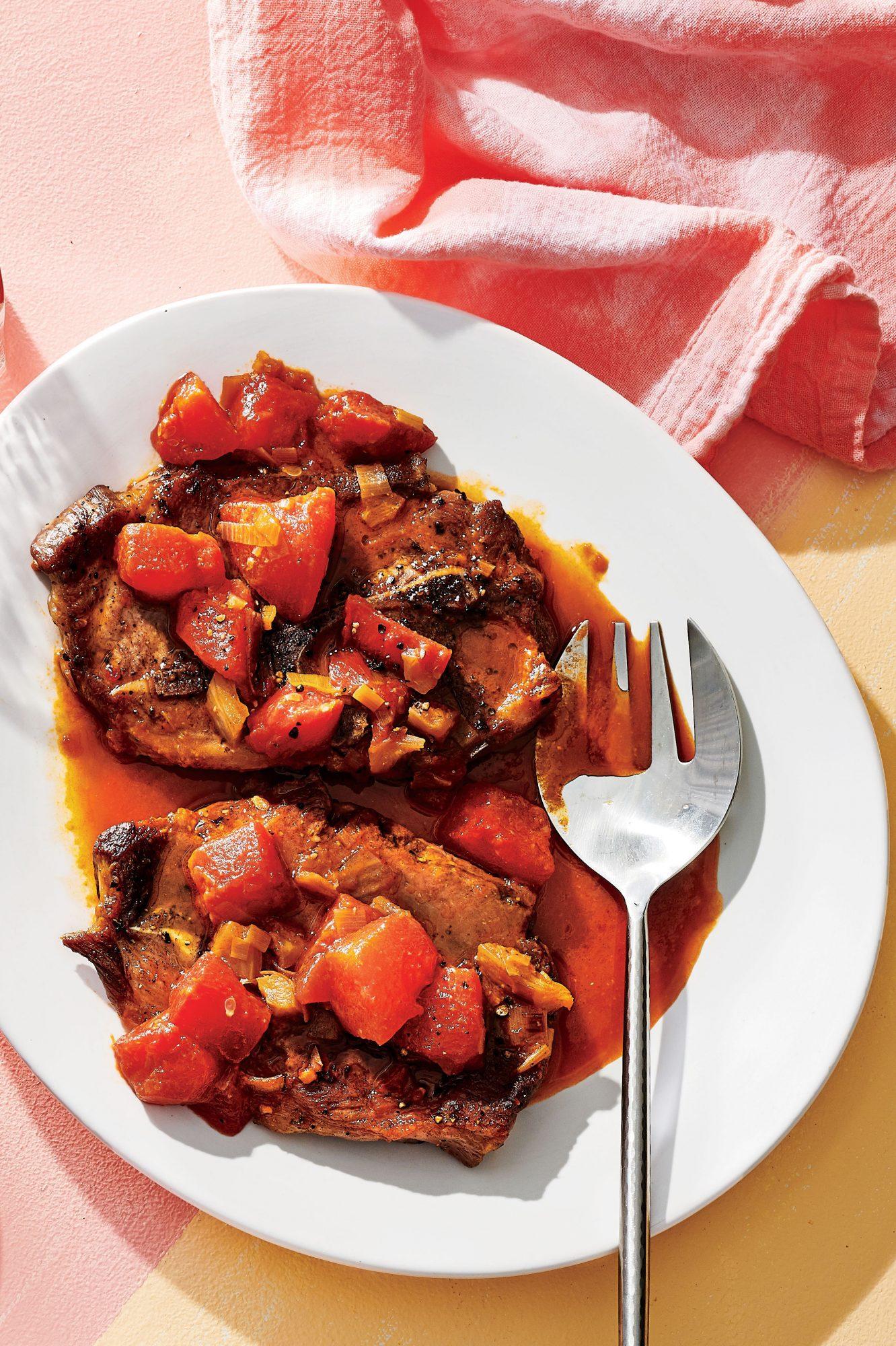 Watermelon-Braised Pork Shoulder Steaks