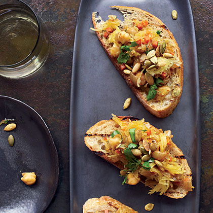 Curried Spaghetti-Squash-and-Chickpea Toasts              Recipe