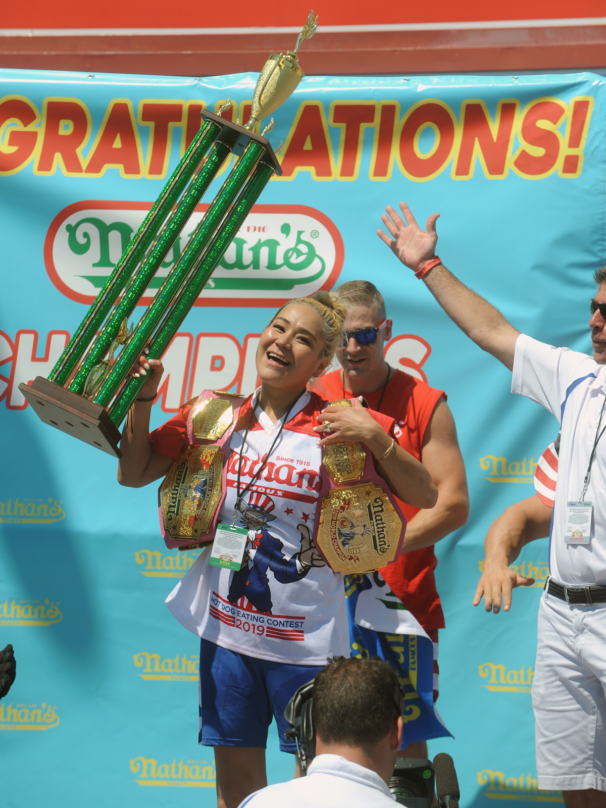 Nathan's Hot Dog Eating Contest Dominated by Repeat Champions in Non-Record-Breaking Affair nathans-miki-sudo-VT-BLOG0719