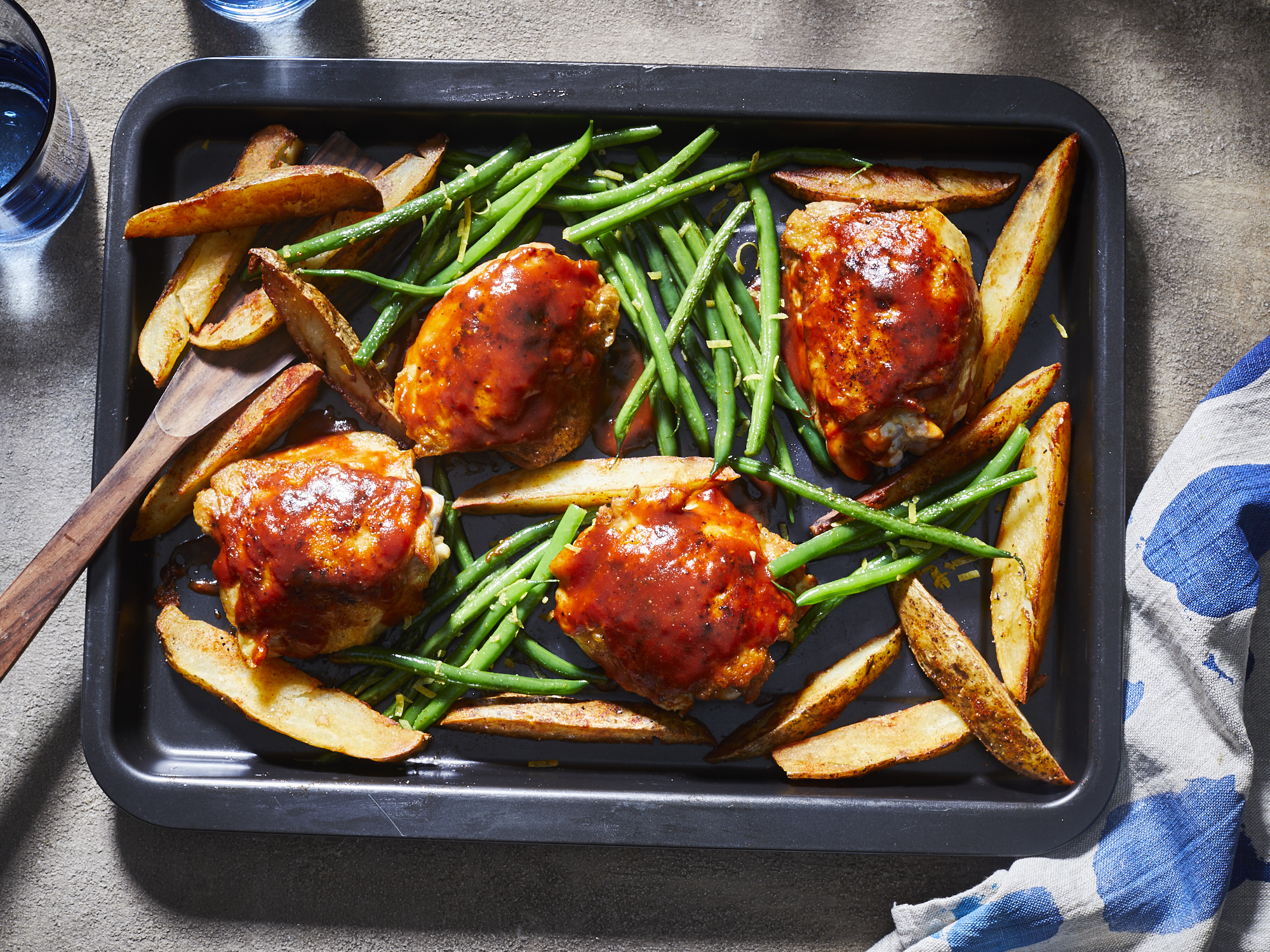 Sheet Pan BBQ Chicken Thighs with Green Beans and Potatoes