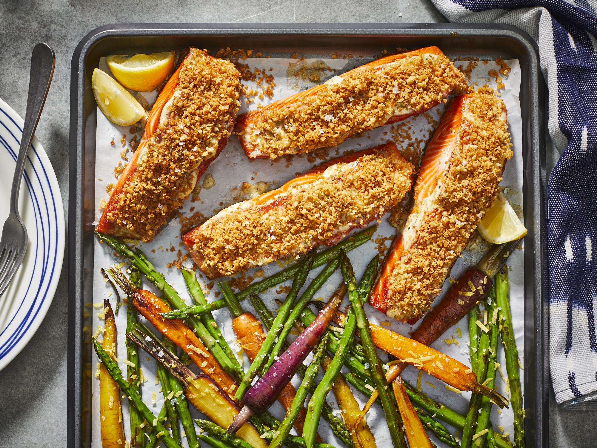 Crispy Sheet Pan Salmon with Lemony Asparagus and Carrots