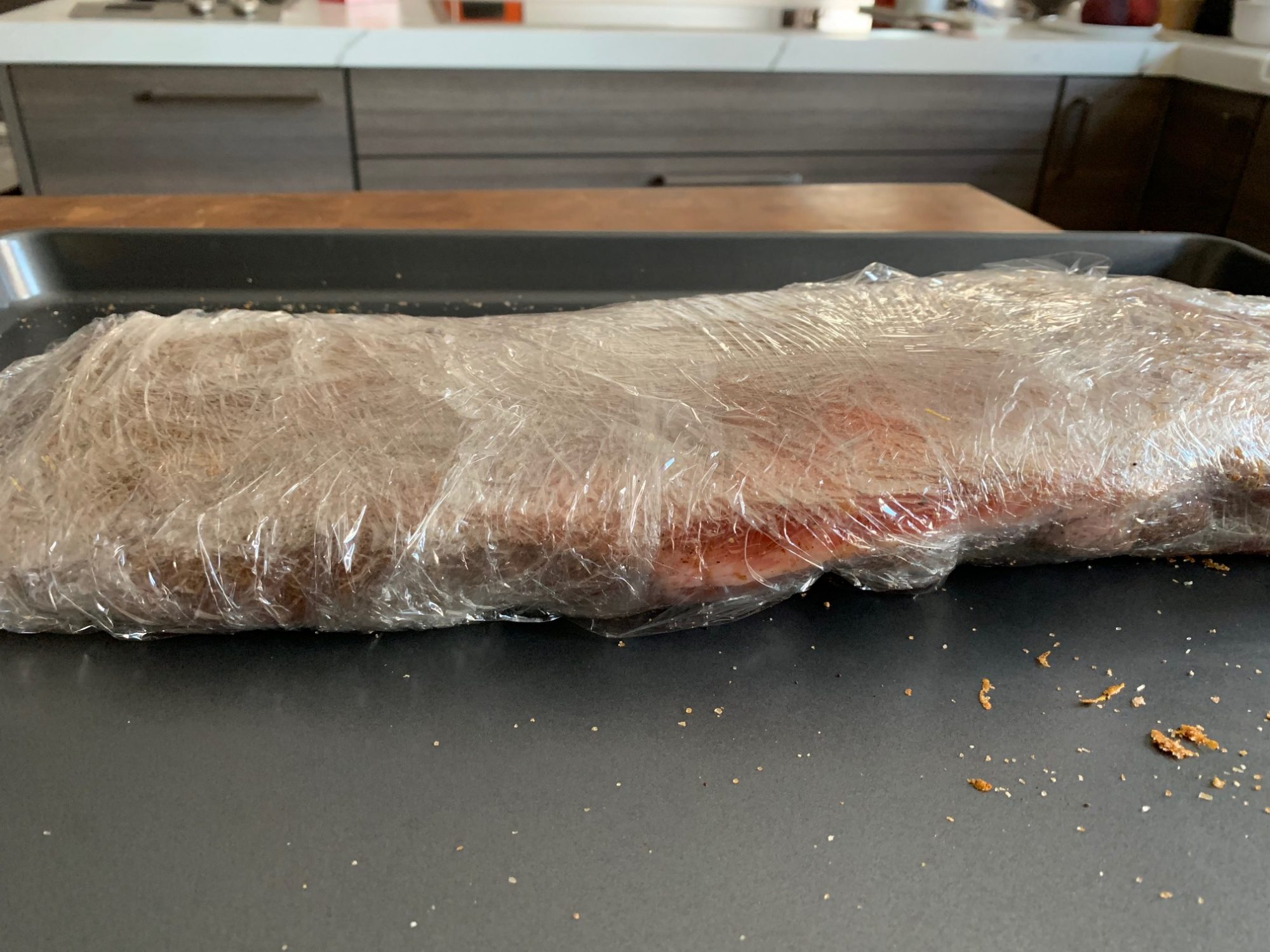 Ribs wrapped in plastic