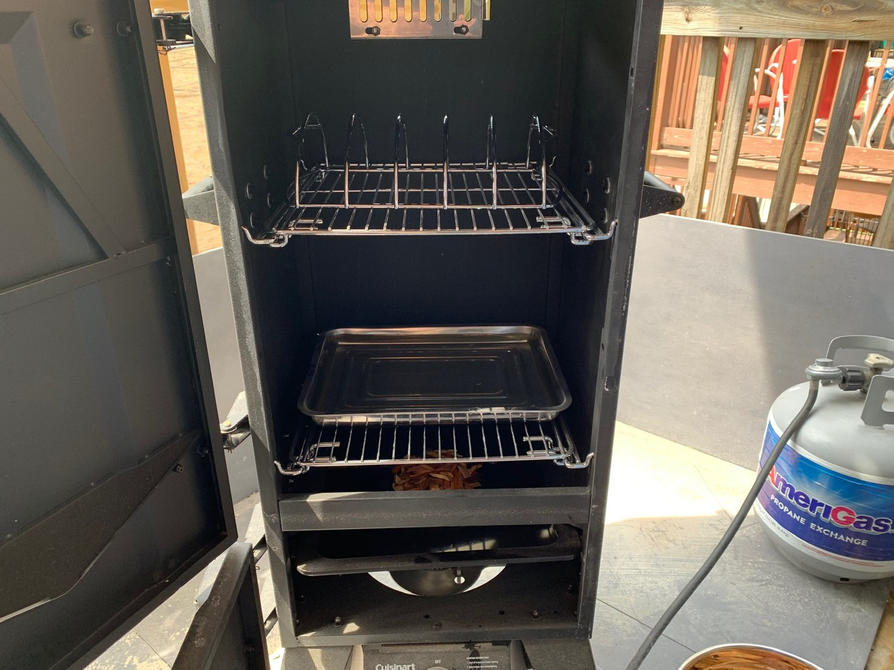 tray, rack and chips in smoker