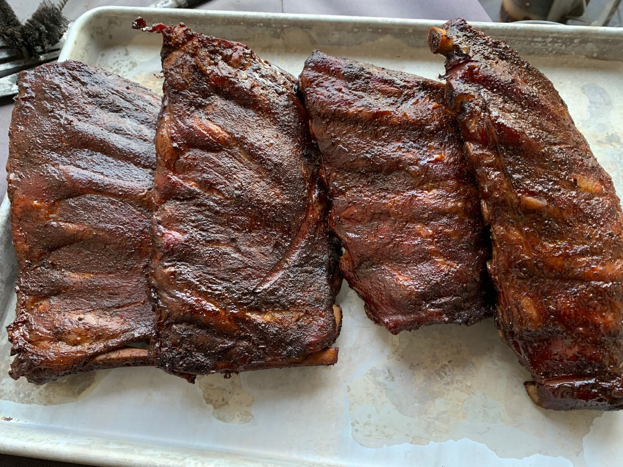 finished ribs on tray