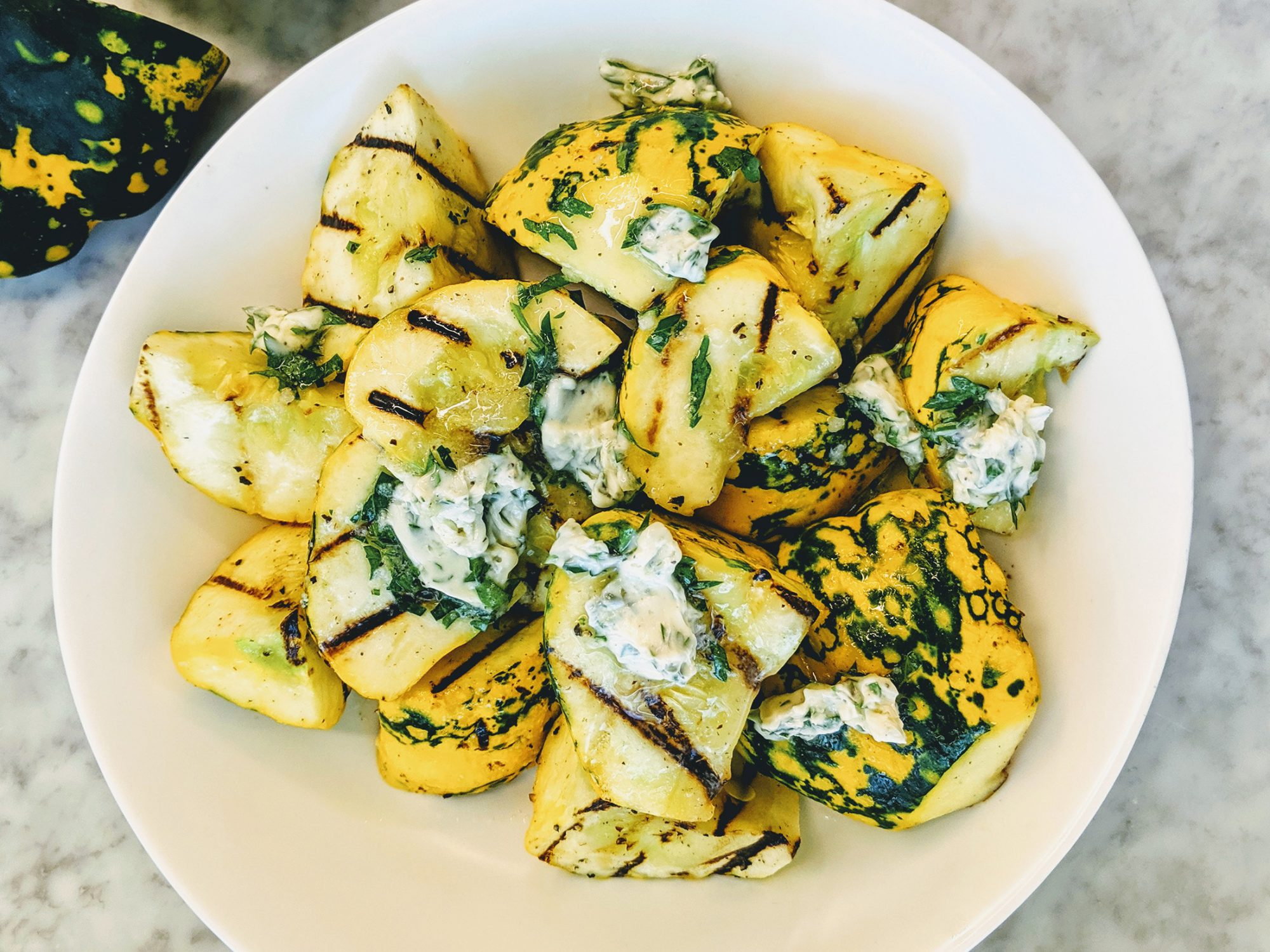 Grilled Pattypan Squash With Garlic Butter image