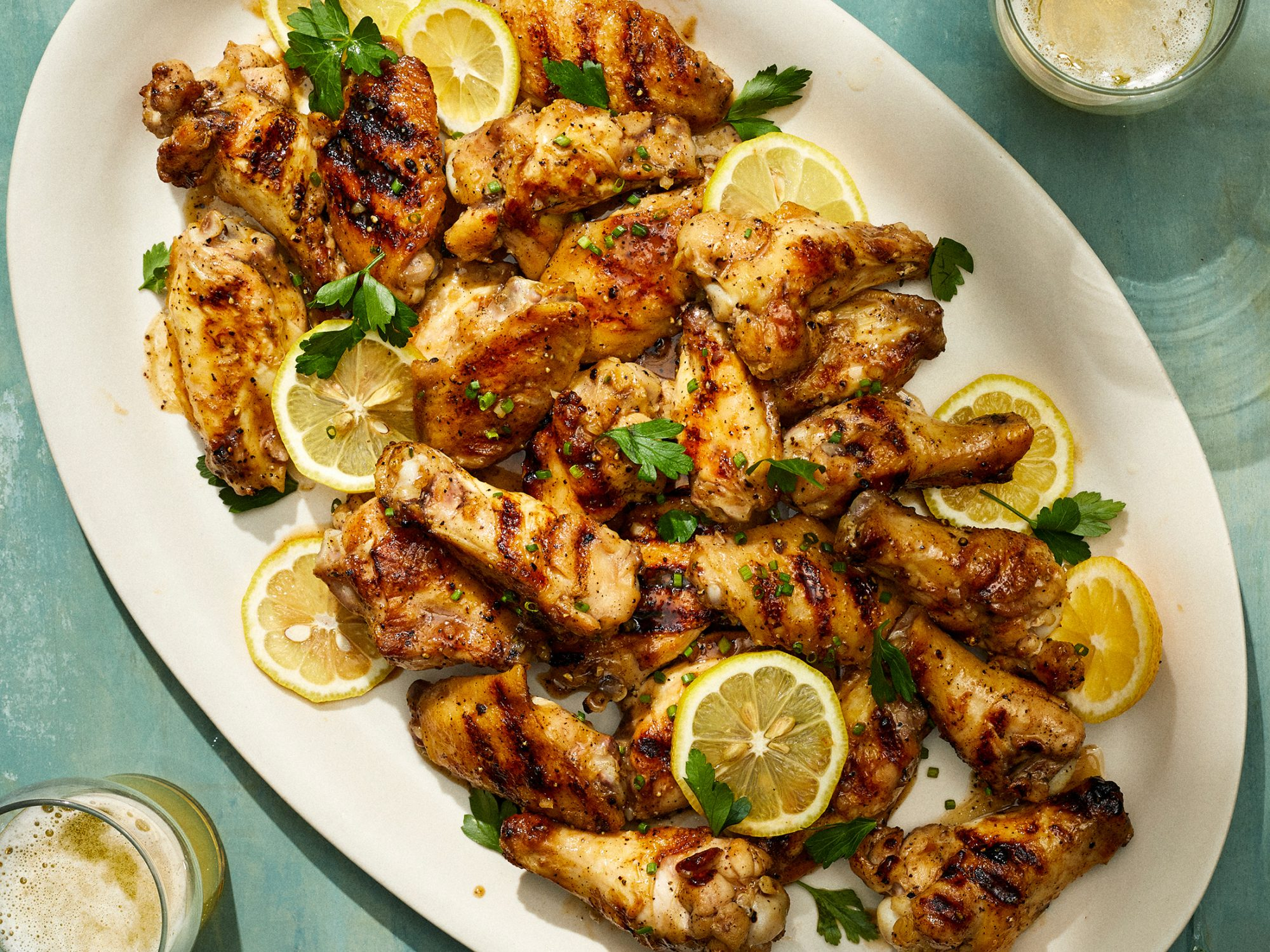 Grilled Wings with Lemon-Pepper Sauce image