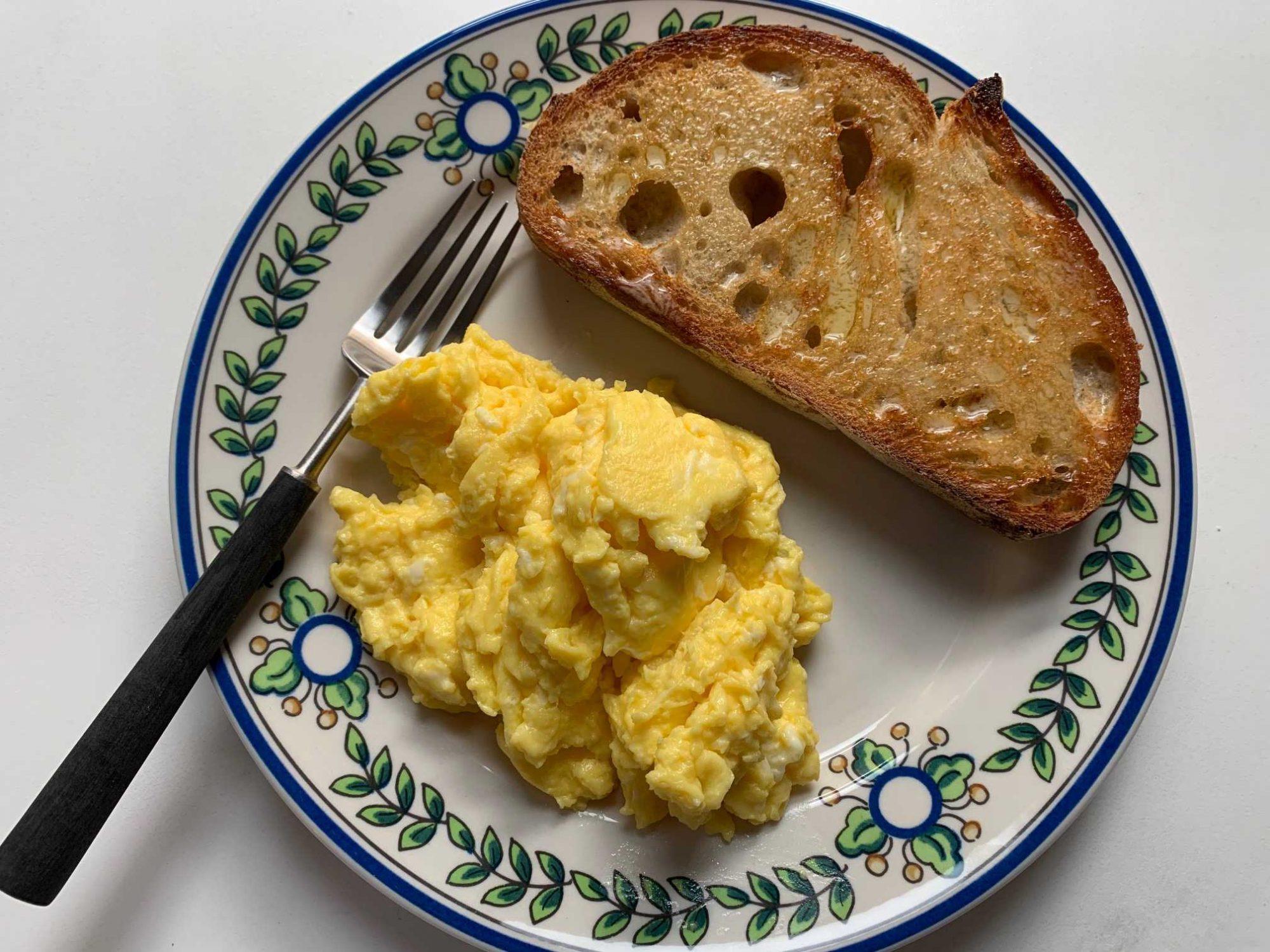 eggs on plate overhead