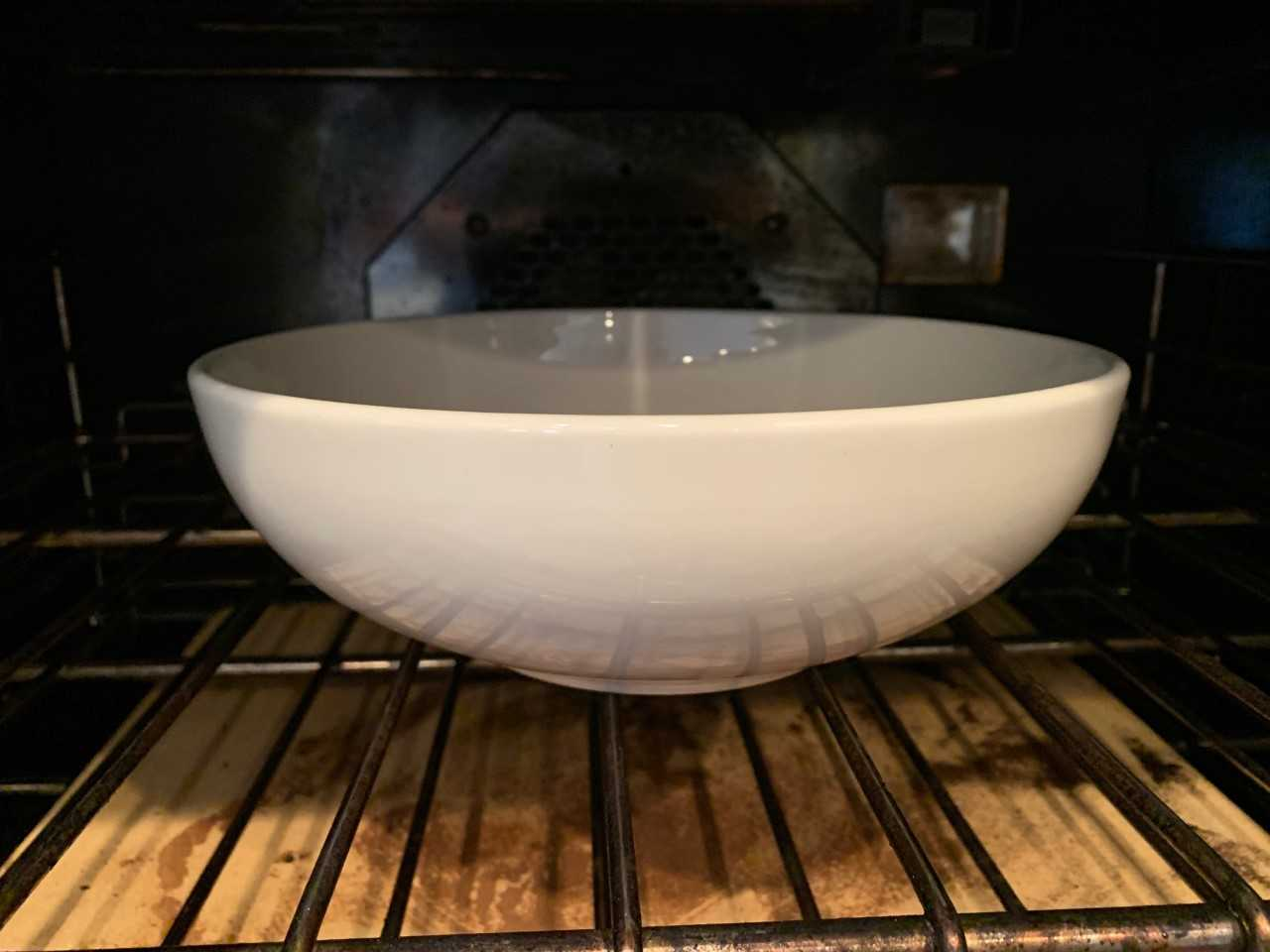 large bowl in oven