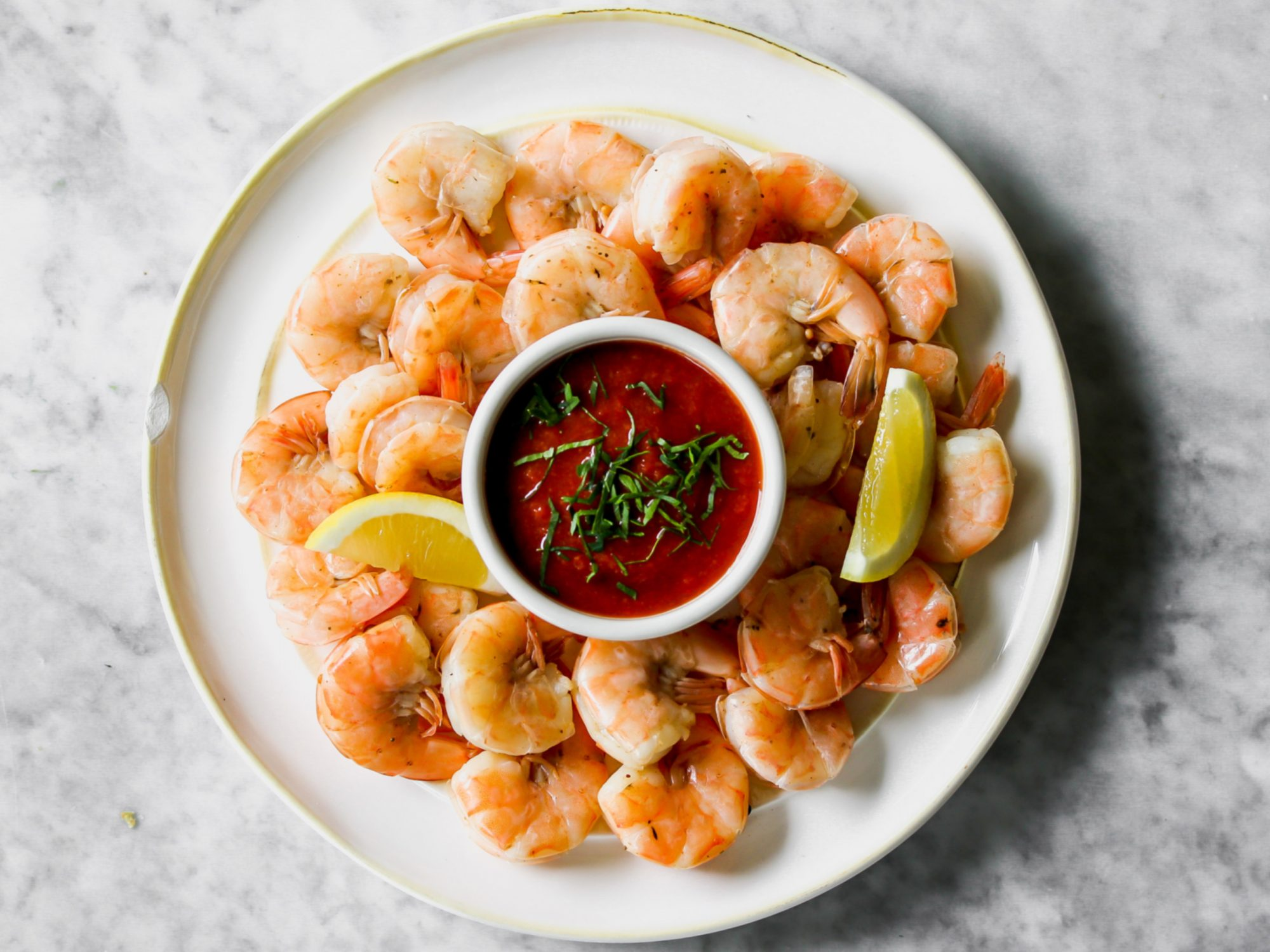 Boiled Shrimp with Cocktail Sauce