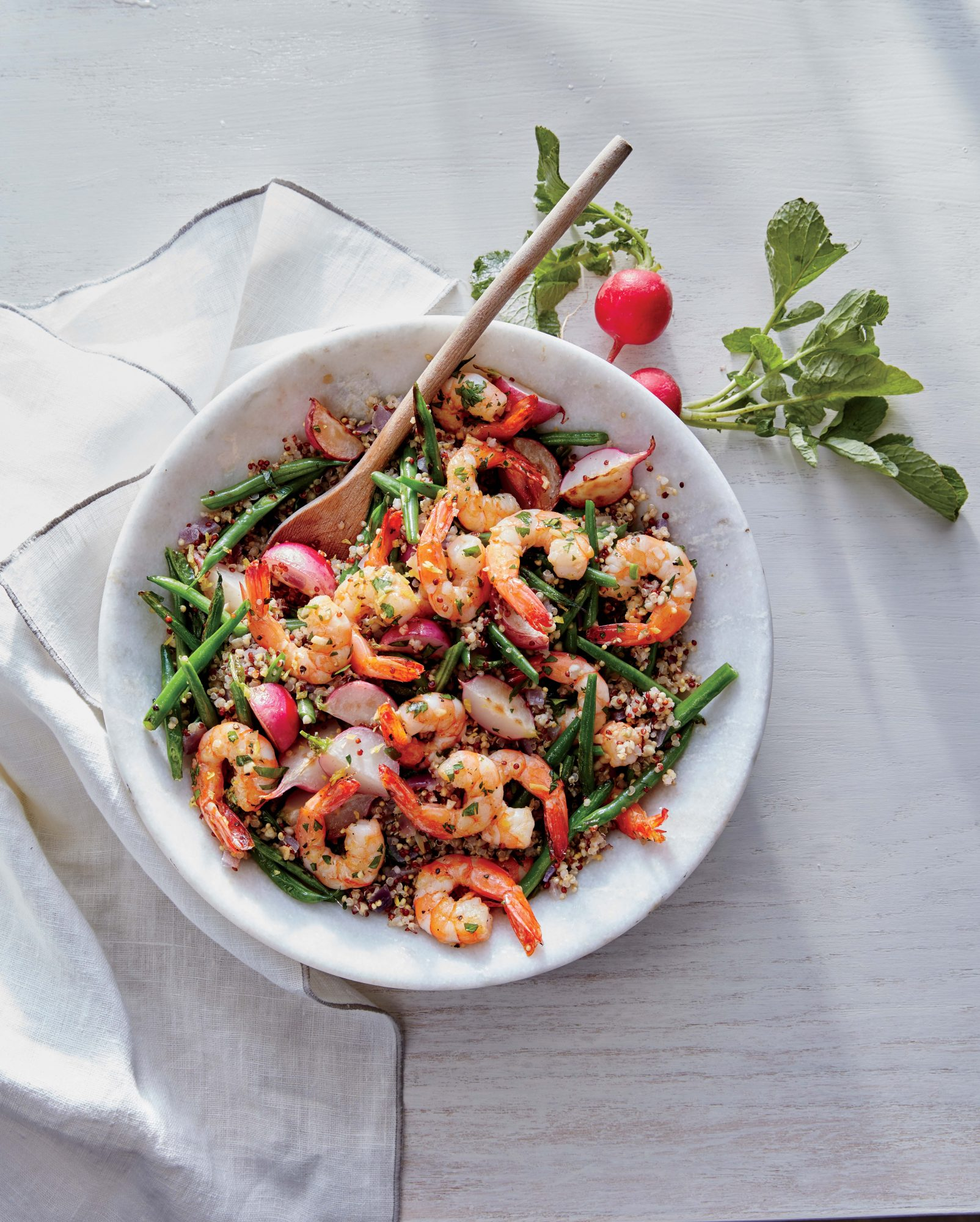 Lemon-Garlic Shrimp with Radish and Green Bean Quinoa Image