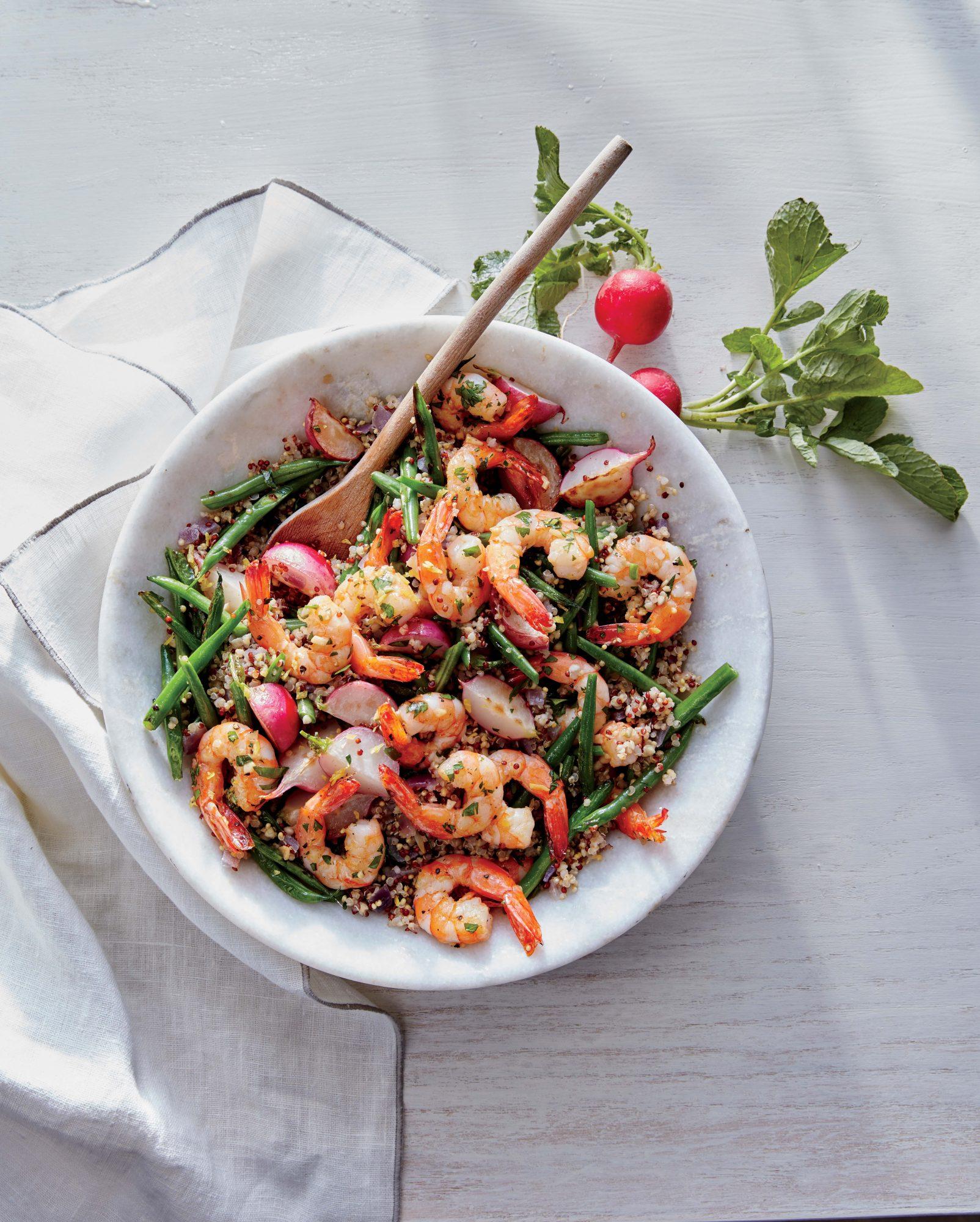 Lemon-Garlic Shrimp with Radish and Green Bean Quinoa Image