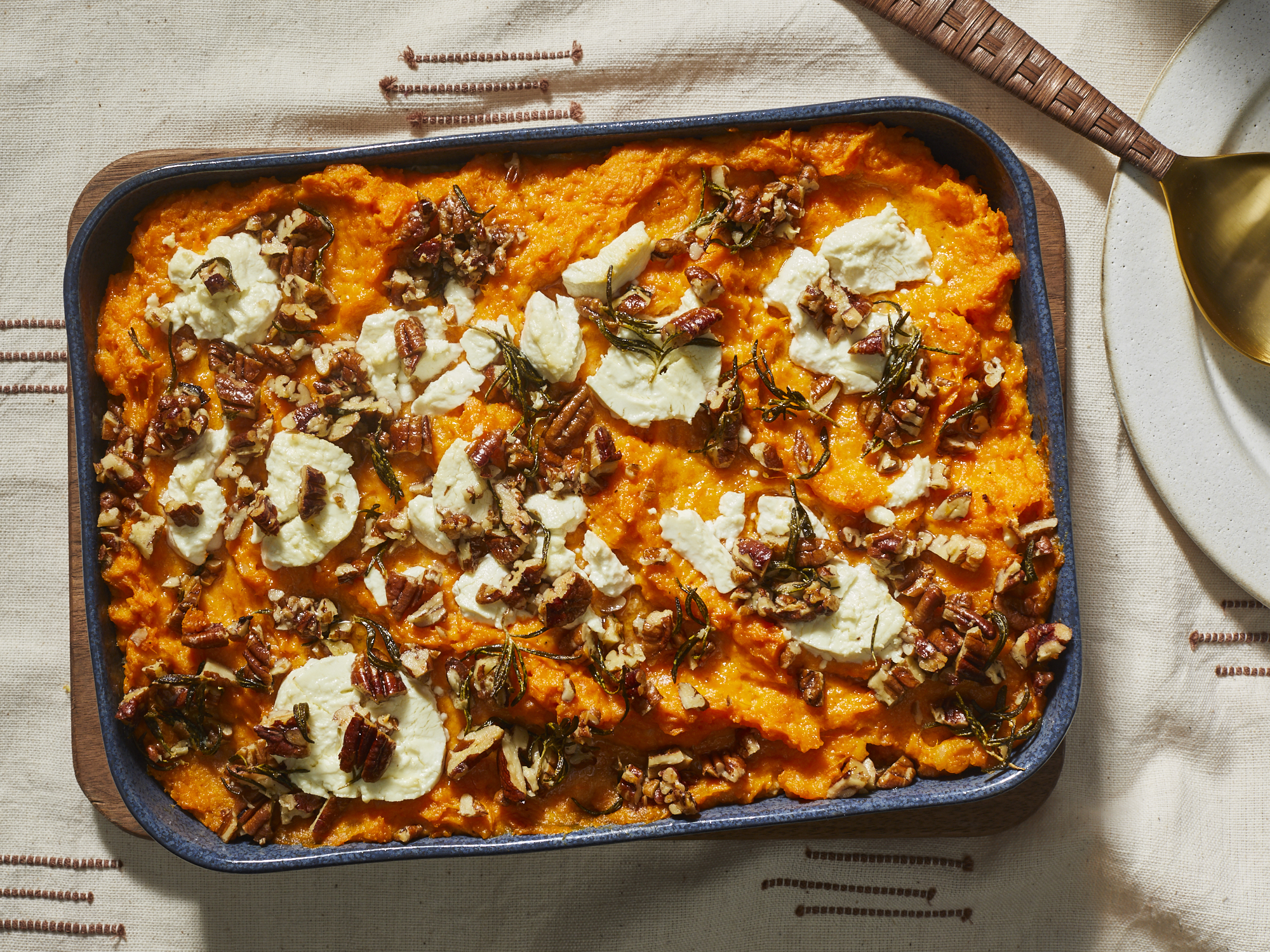 Sweet Potato Casserole with Rosemary and Goat Cheese