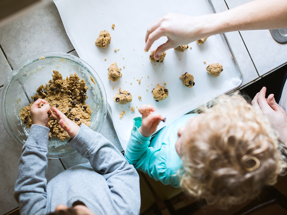 Children Helping Make Cookies - stock photo