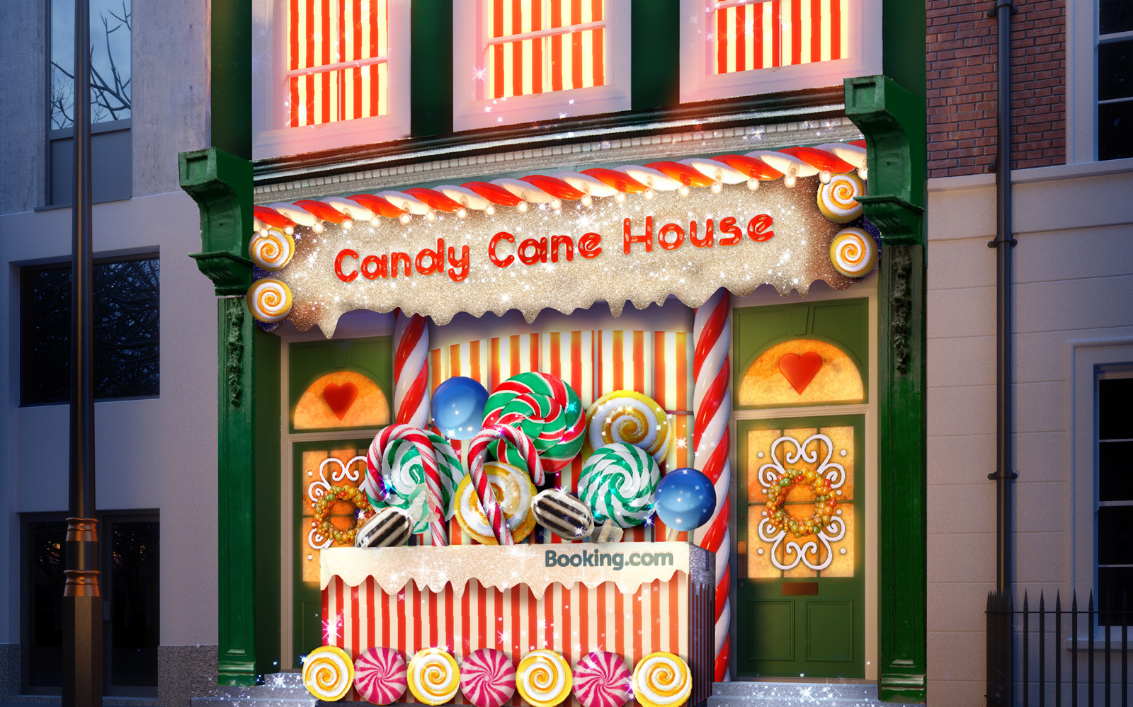 Booking.com candy cane house