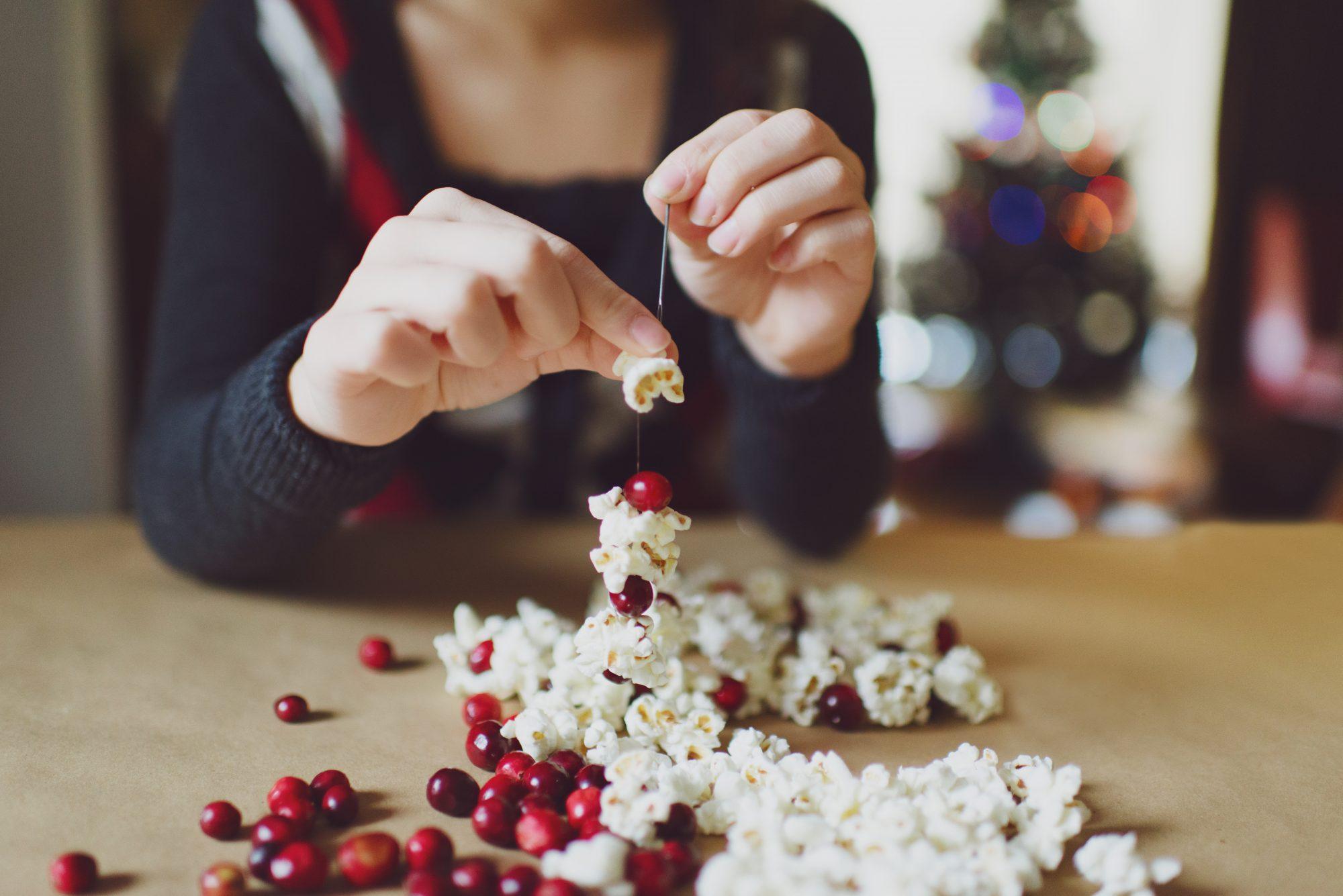 Making Christmas garland of fresh cranberries and popcorn.