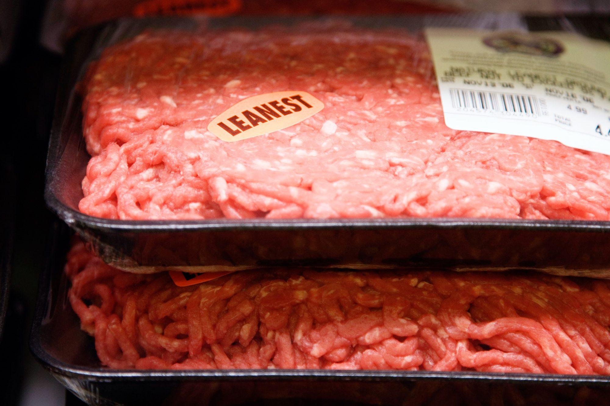 Ground beef in supermarket, close-up