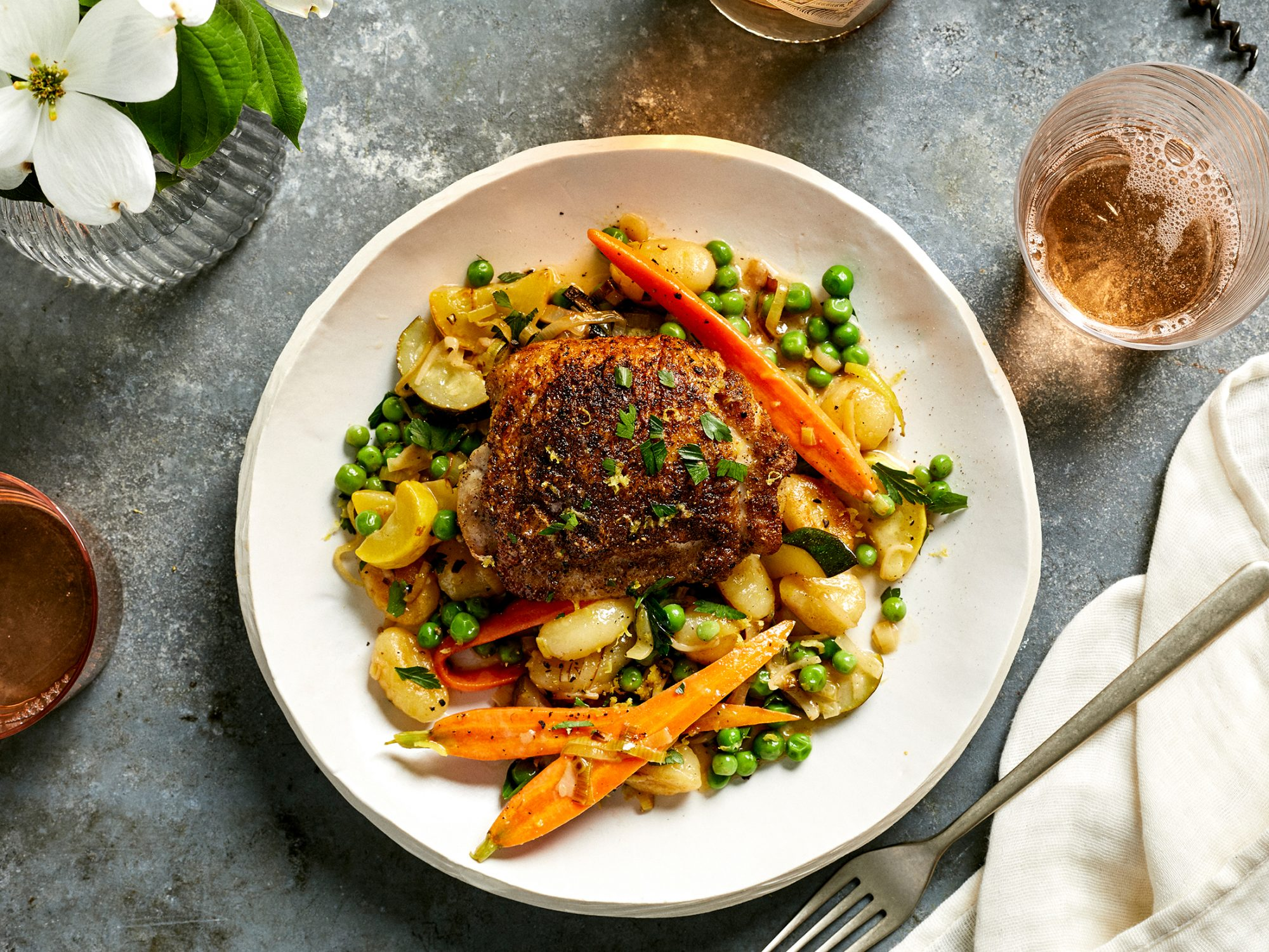 Coriander Chicken Thighs with Spring Vegetables, Gnocchi, and Lemon-Butter Sauce