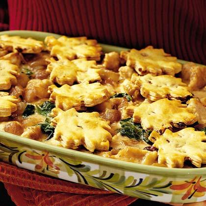 Turkey Pot Pie with Cranberry-Pecan Crusts