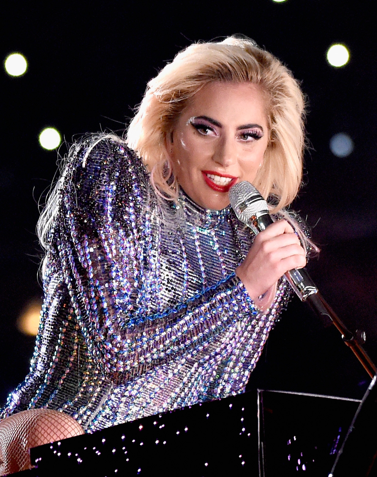 HOUSTON, TX - FEBRUARY 05: Musician Lady Gaga performs onstage during the Pepsi Zero Sugar Super Bowl LI Halftime Show at NRG Stadium on February 5, 2017 in Houston, Texas. (Photo by Kevin Mazur/WireImage)