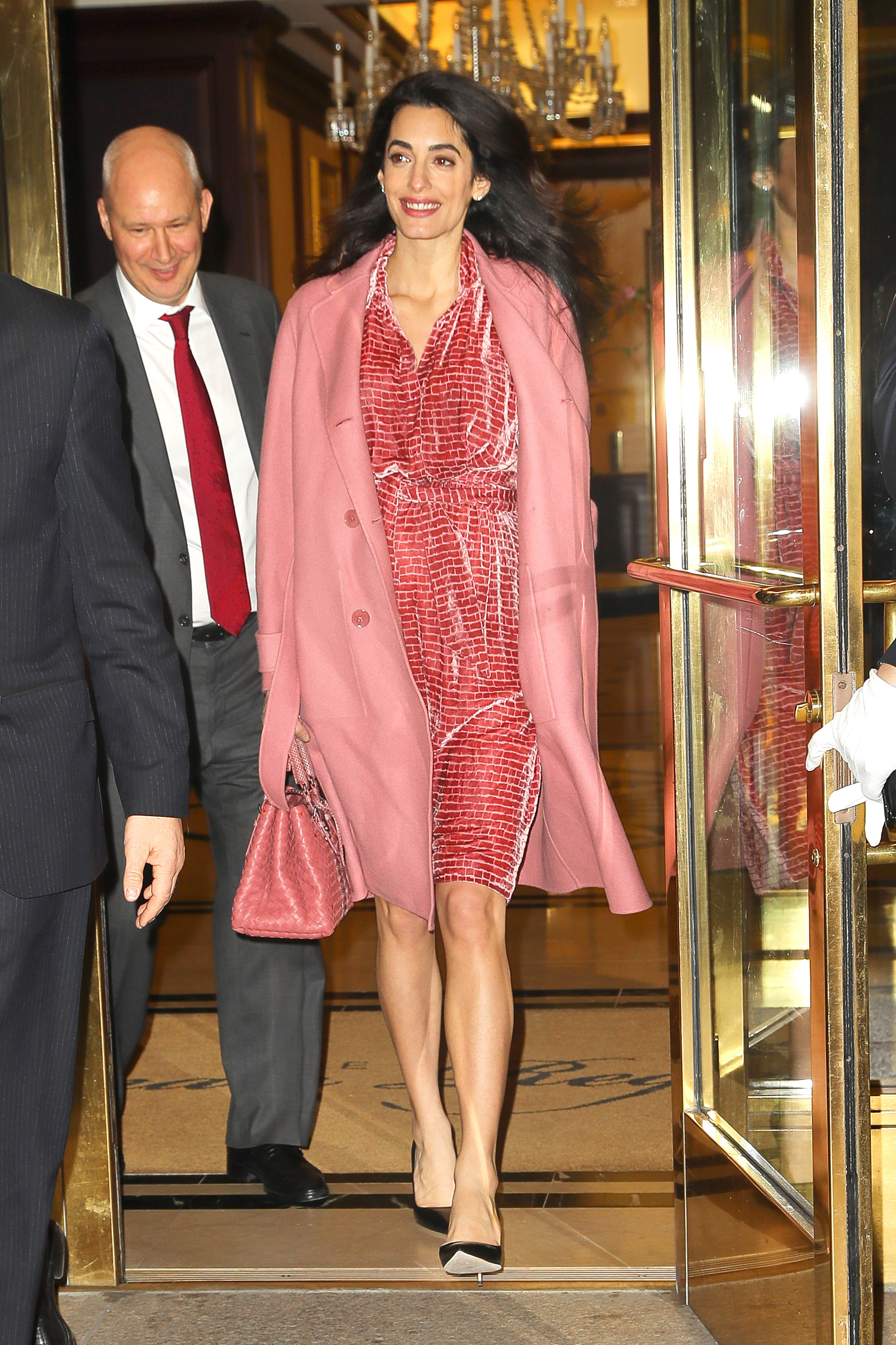 EXCLUSIVE Pregnant Amal Clooney Looks Radiant In Pink For Charity Event In NYC