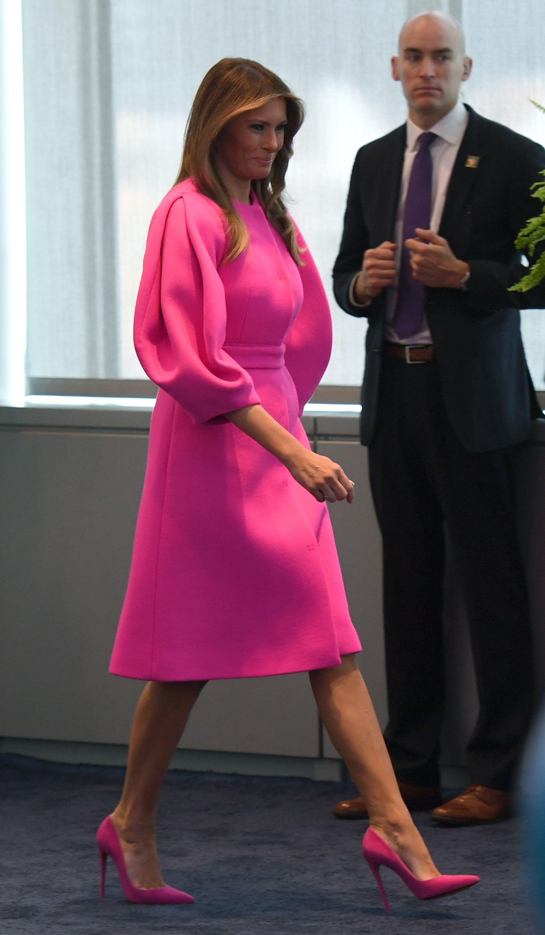 Melania Trump, looks, estilo, moda, naciones unidas, fucsia, delpozo