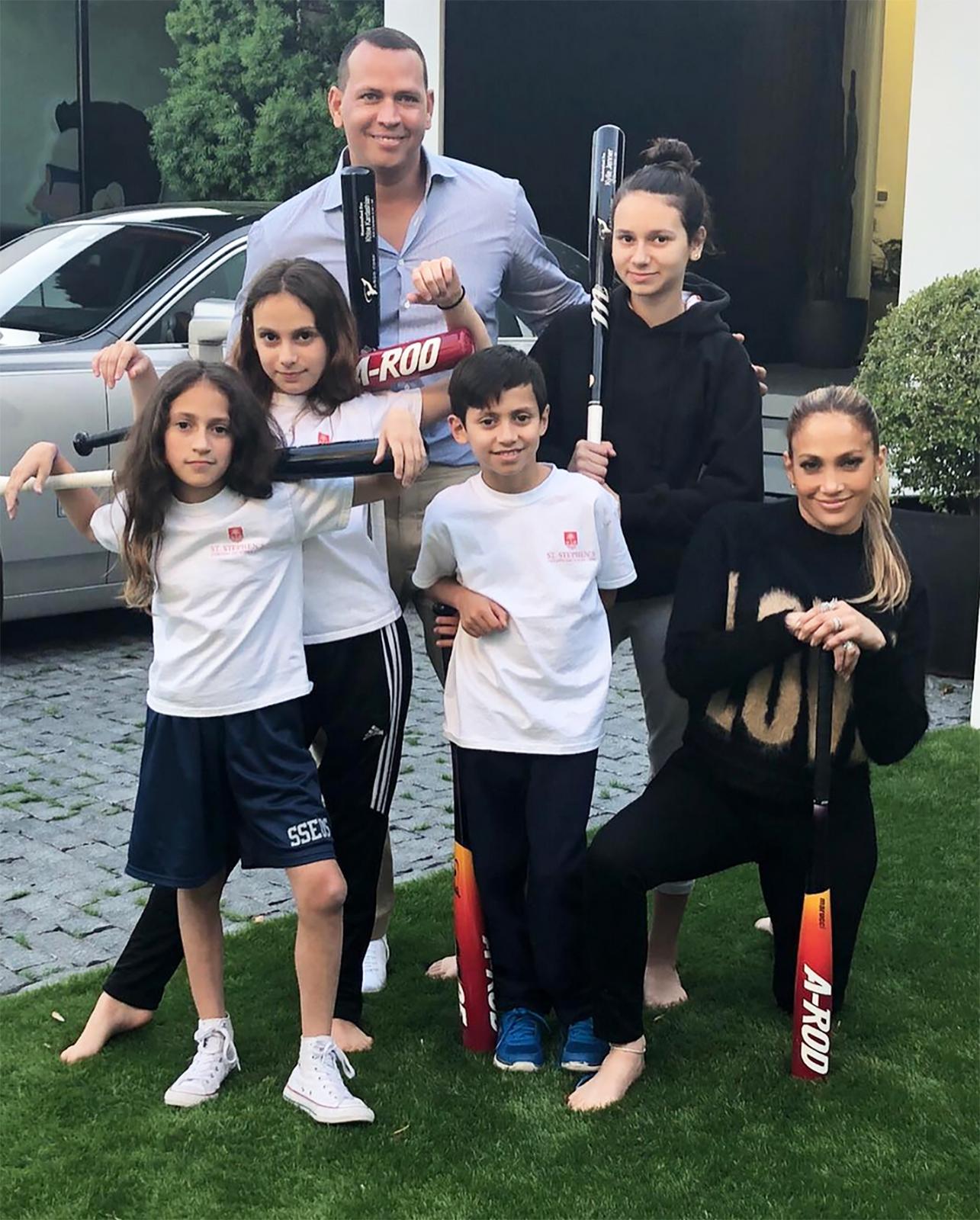 Jennifer Lopez, Alex Rodriguez y sus hijos