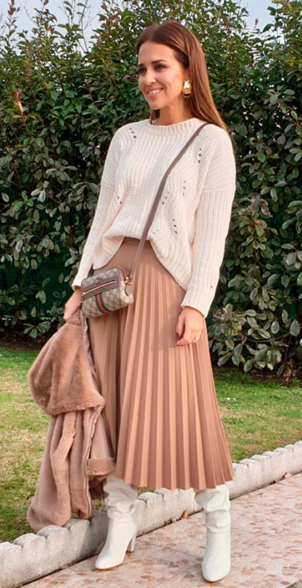 falda, falda midi, accesorios, famosa, estilo