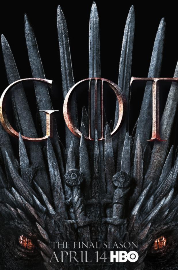 Game of Thrones season 8 poster shows a dragon eyeing the iron throne Game of Thrones season 8 poster