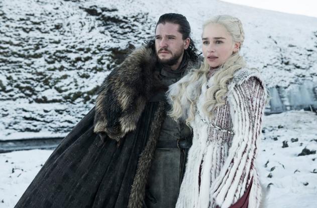 Kit Harington as Jon Snow and Emilia Clarke as Daenerys Targaryen Helen Sloan-HBO