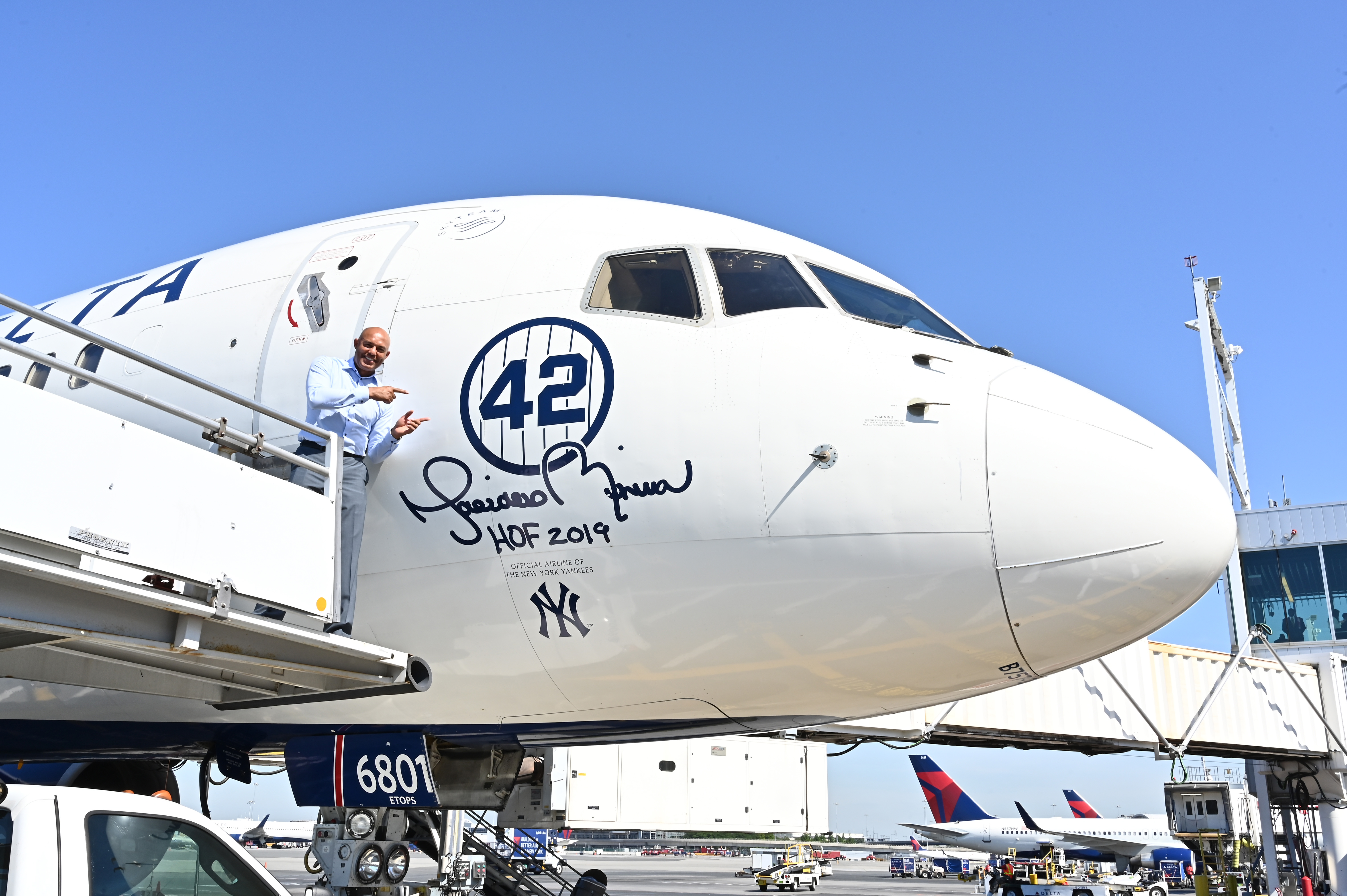 Delta Air Lines Dedicates 757 Aircraft and Terminal 4's Gate 42 At JFK Airport To Mariano Rivera Before Hall Of Fame Induction