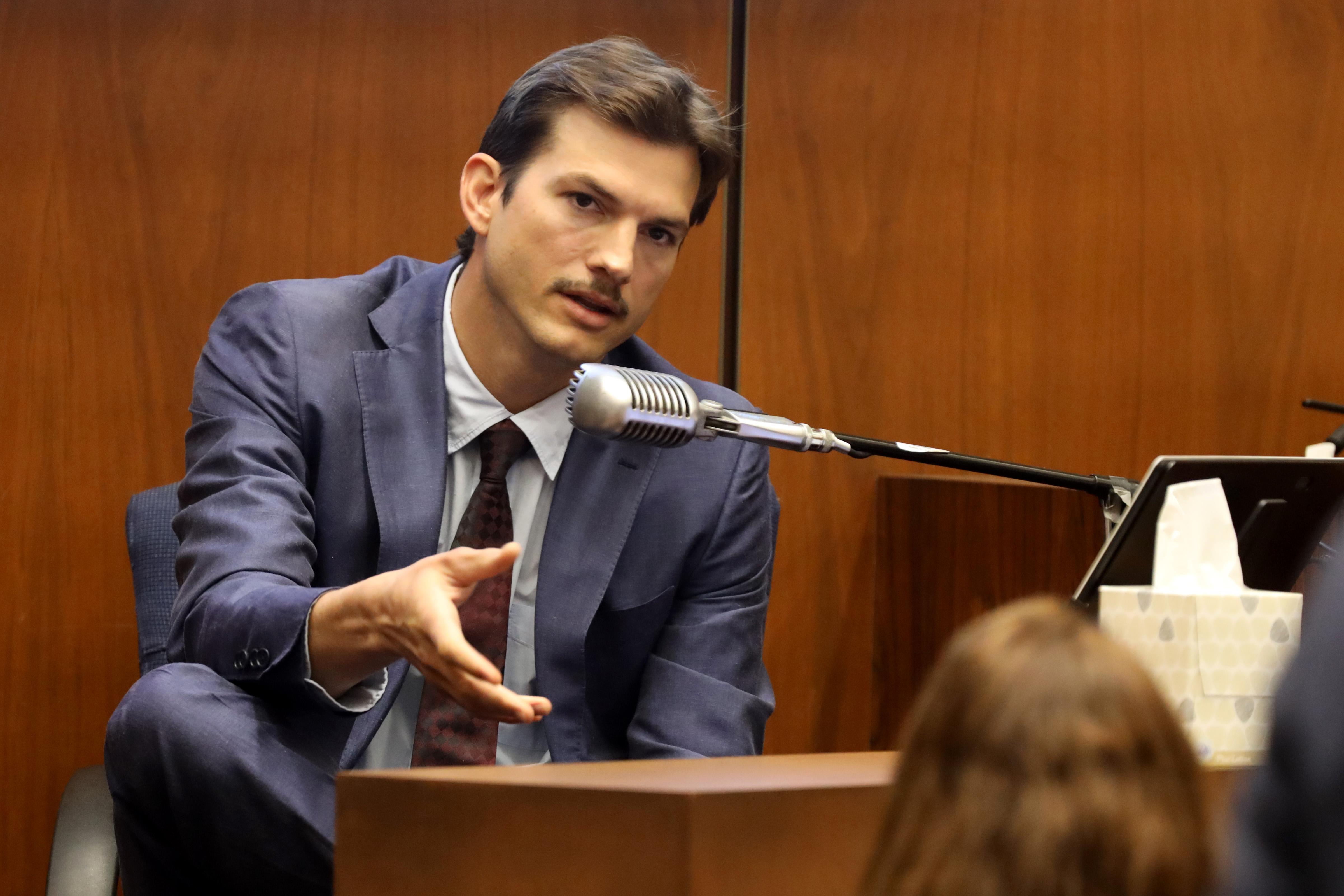 Ashton Kutcher testifies during the trial of alleged serial killer Michael Gargiulo