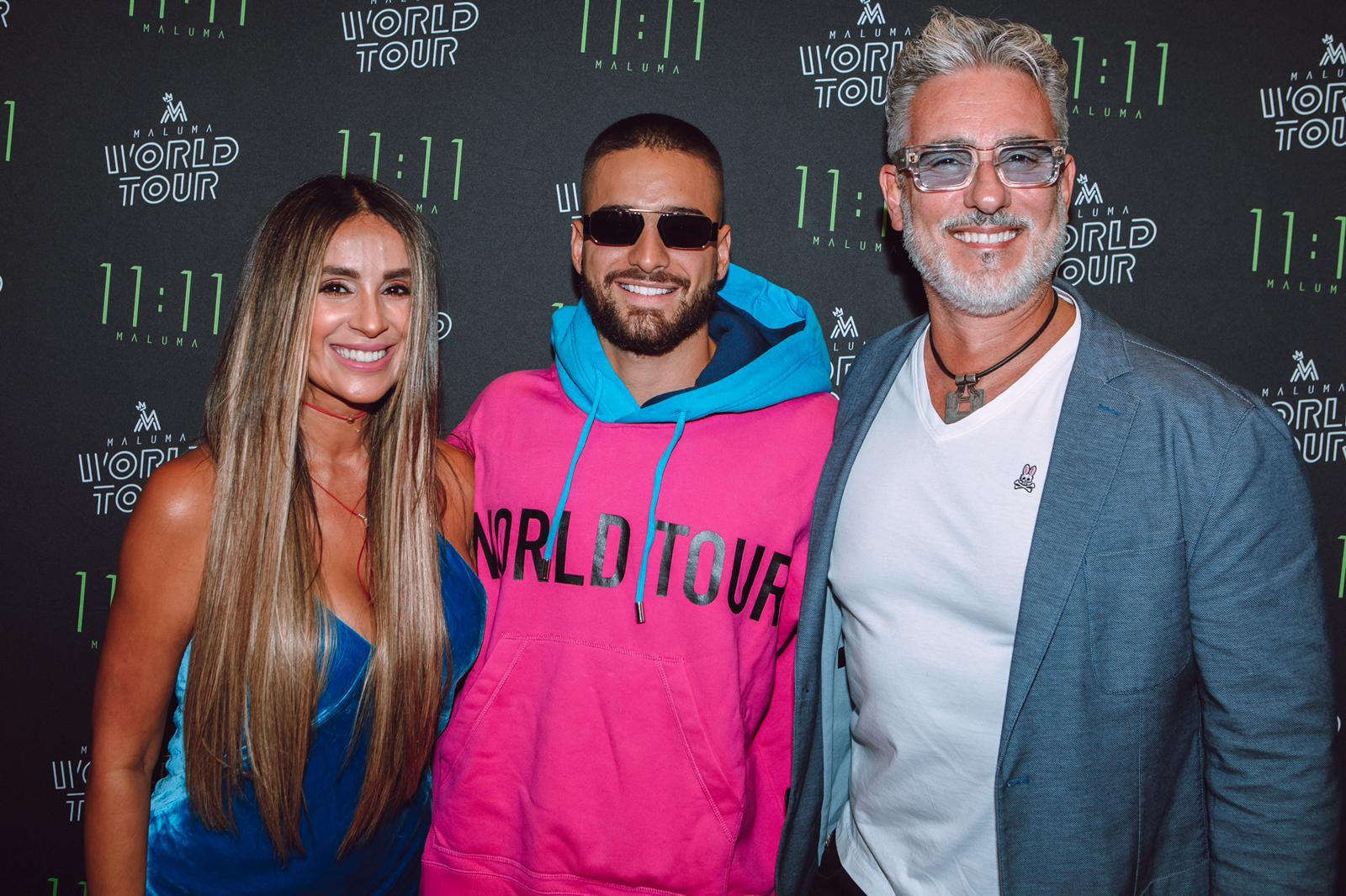 Maluma foto con Catherine Siachoque y Miguel Varoni american airlines arena miami