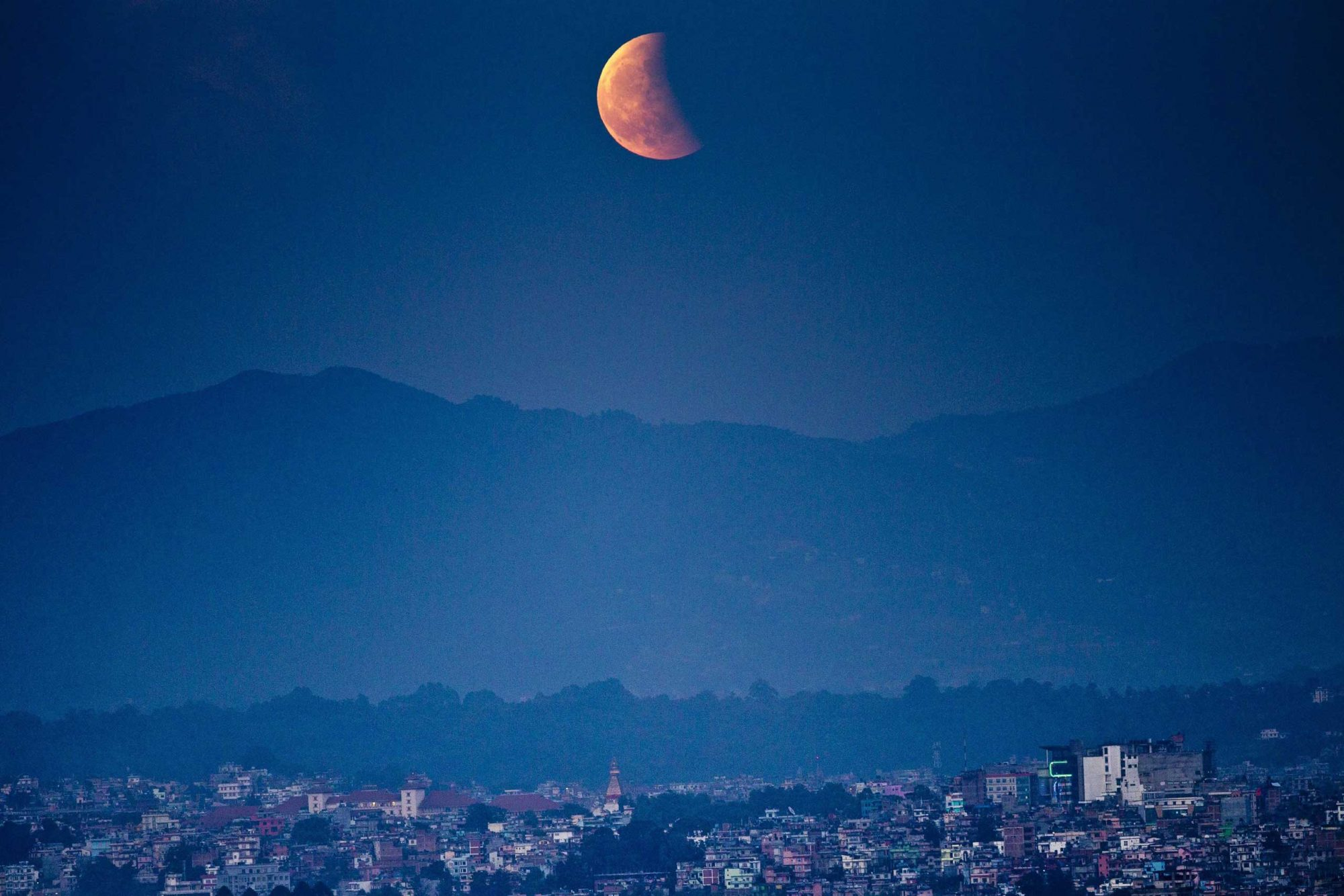 Total lunar eclipse from Kathmandu