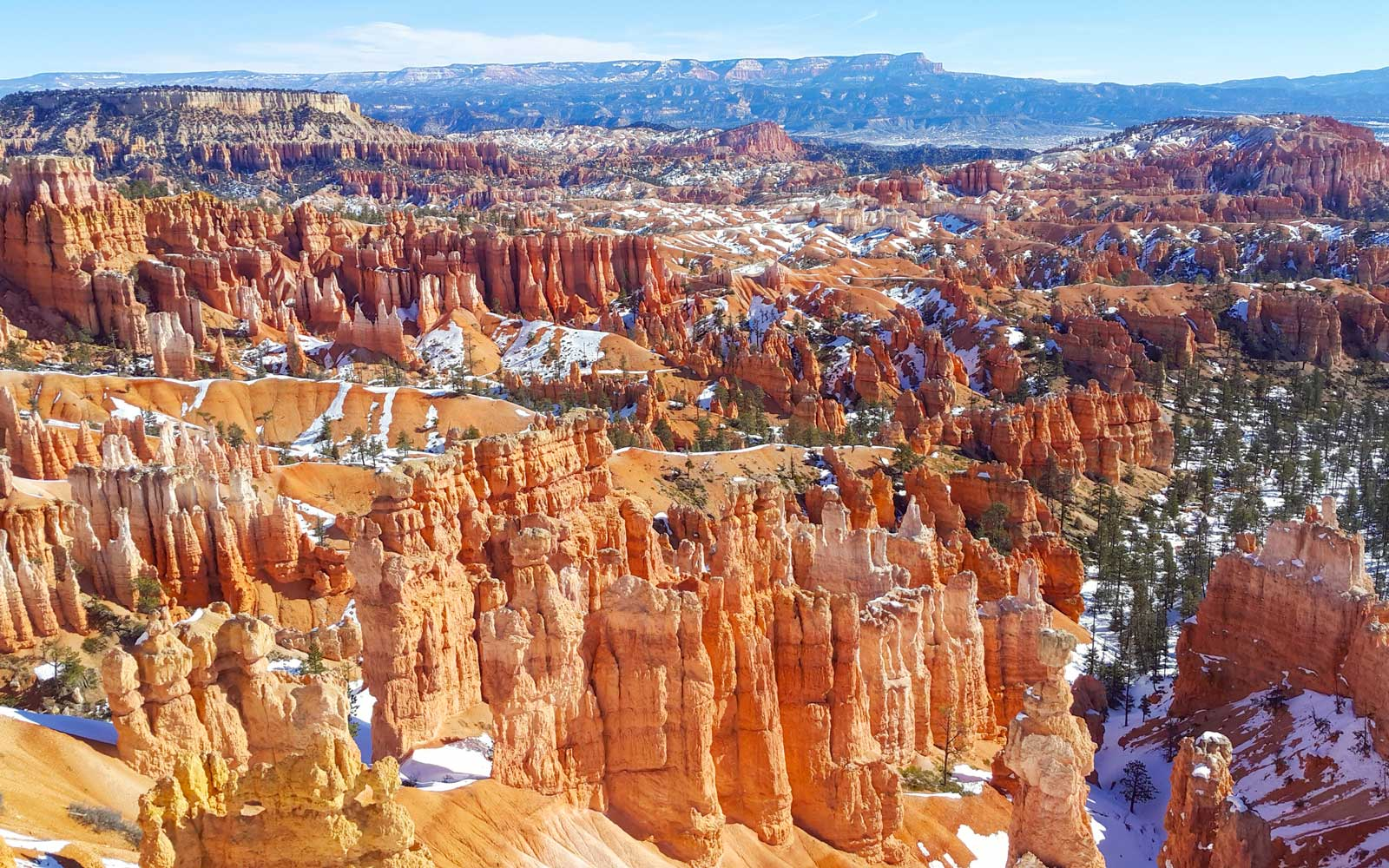 Bryce Canyon National Park with snow in winter season, Utah