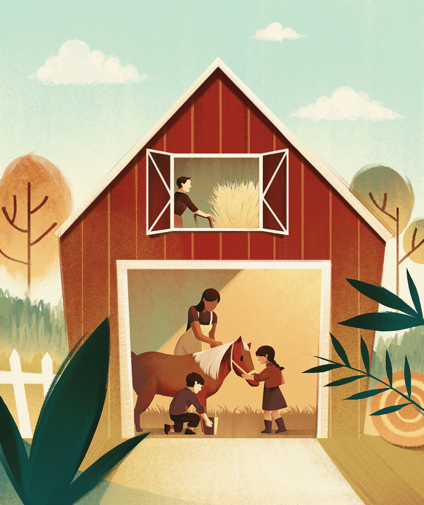 Illustration: family helping animals in barn
