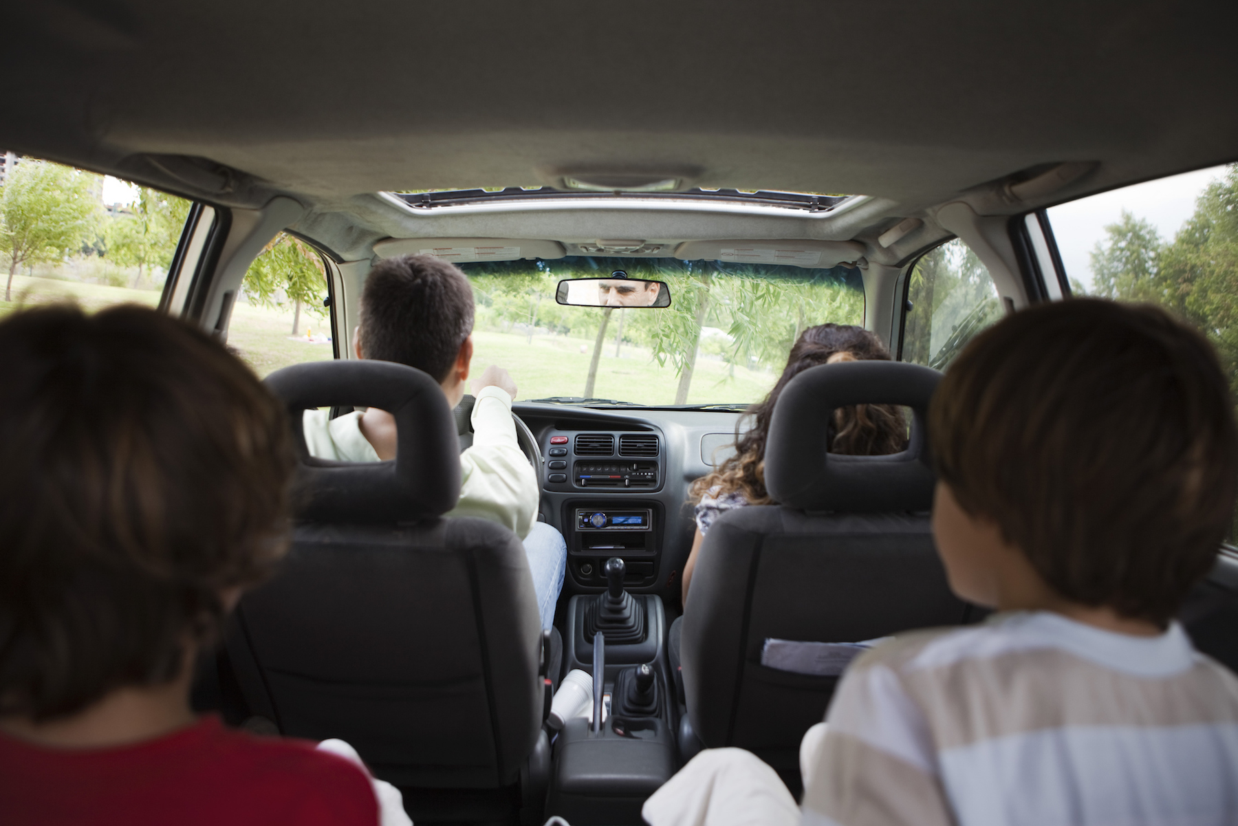 Family in car from the back