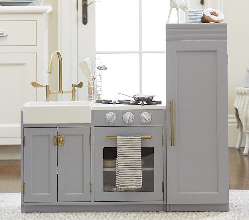 Pottery Barn Play Kitchen in gray and brass