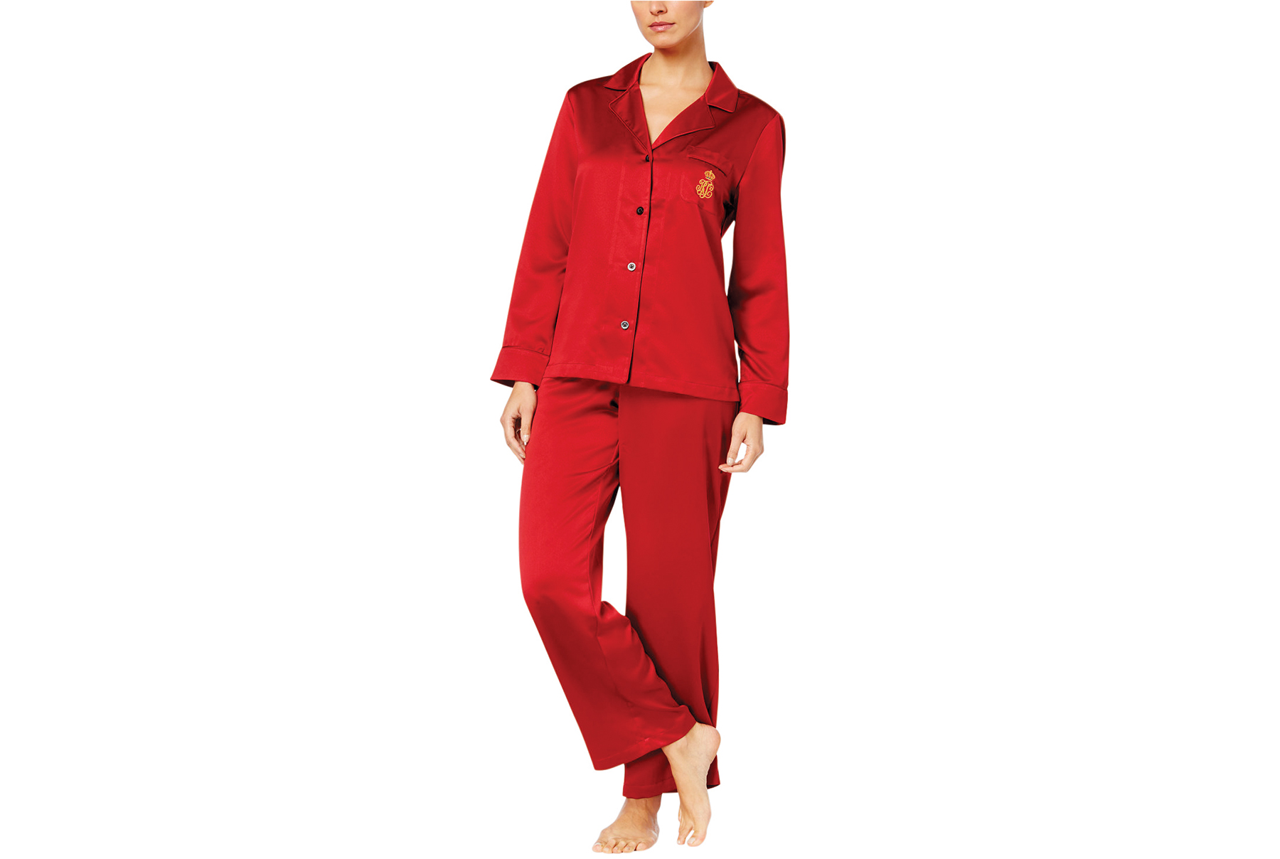 Ralph Lauren Satin Pajama Set in Red