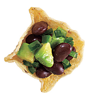 Spicy Black Beans and Avocado Canapés