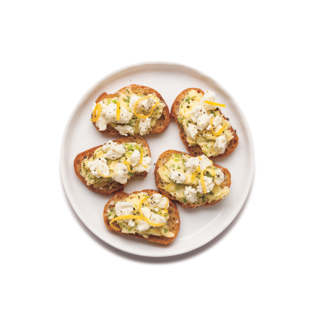 Scallion Butter and Goat Cheese Crostini