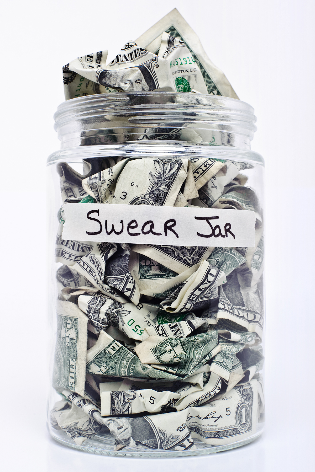 Swear jar with coins