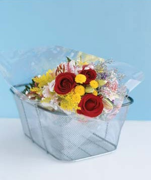 Fresh flowers in a basket